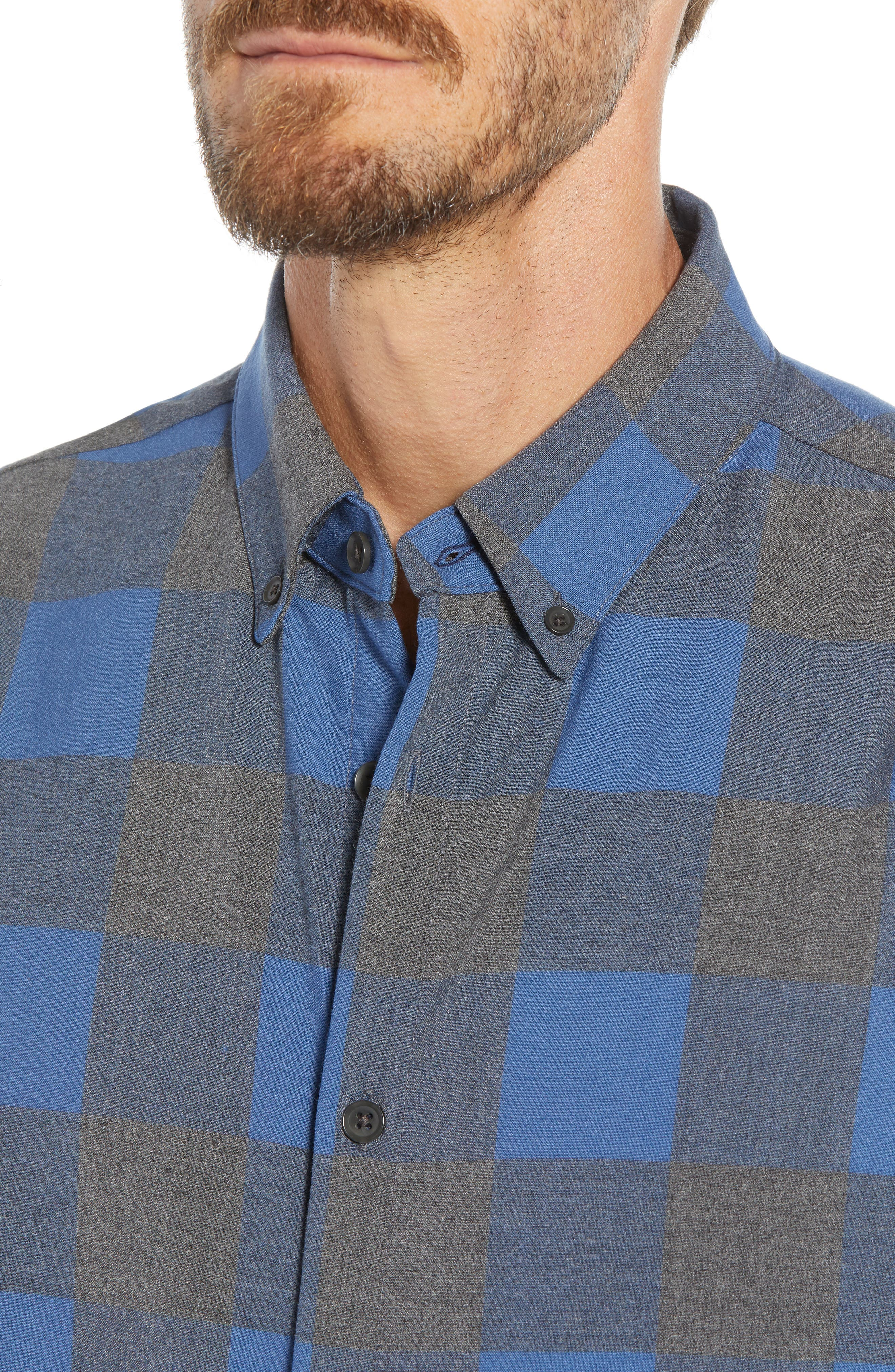 Sierra Regular Fit Flannel Sport Shirt,                             Alternate thumbnail 2, color,                             GREY
