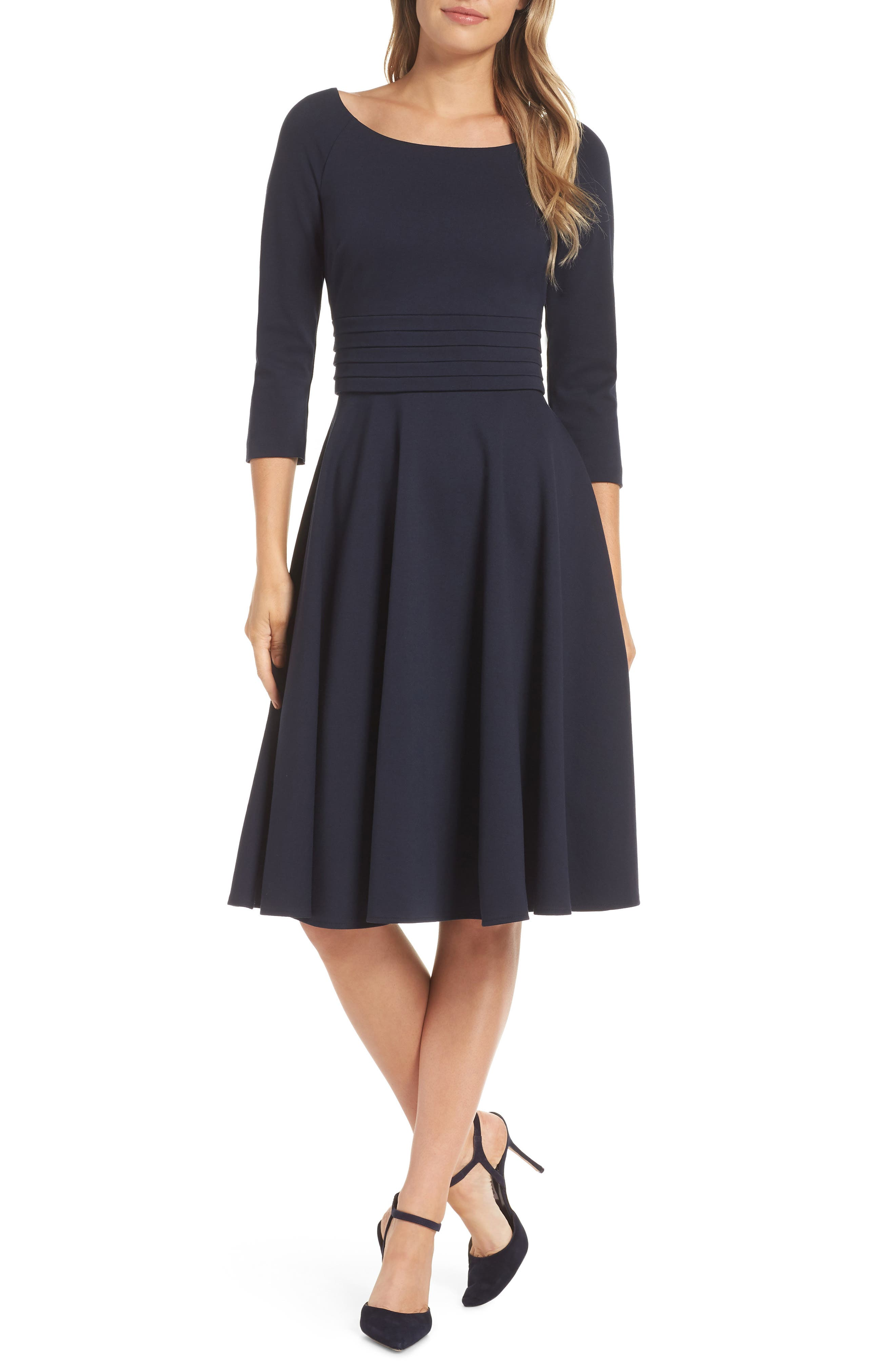 Pleated Waist Fit & Flare Dress,                             Alternate thumbnail 6, color,                             NAVY