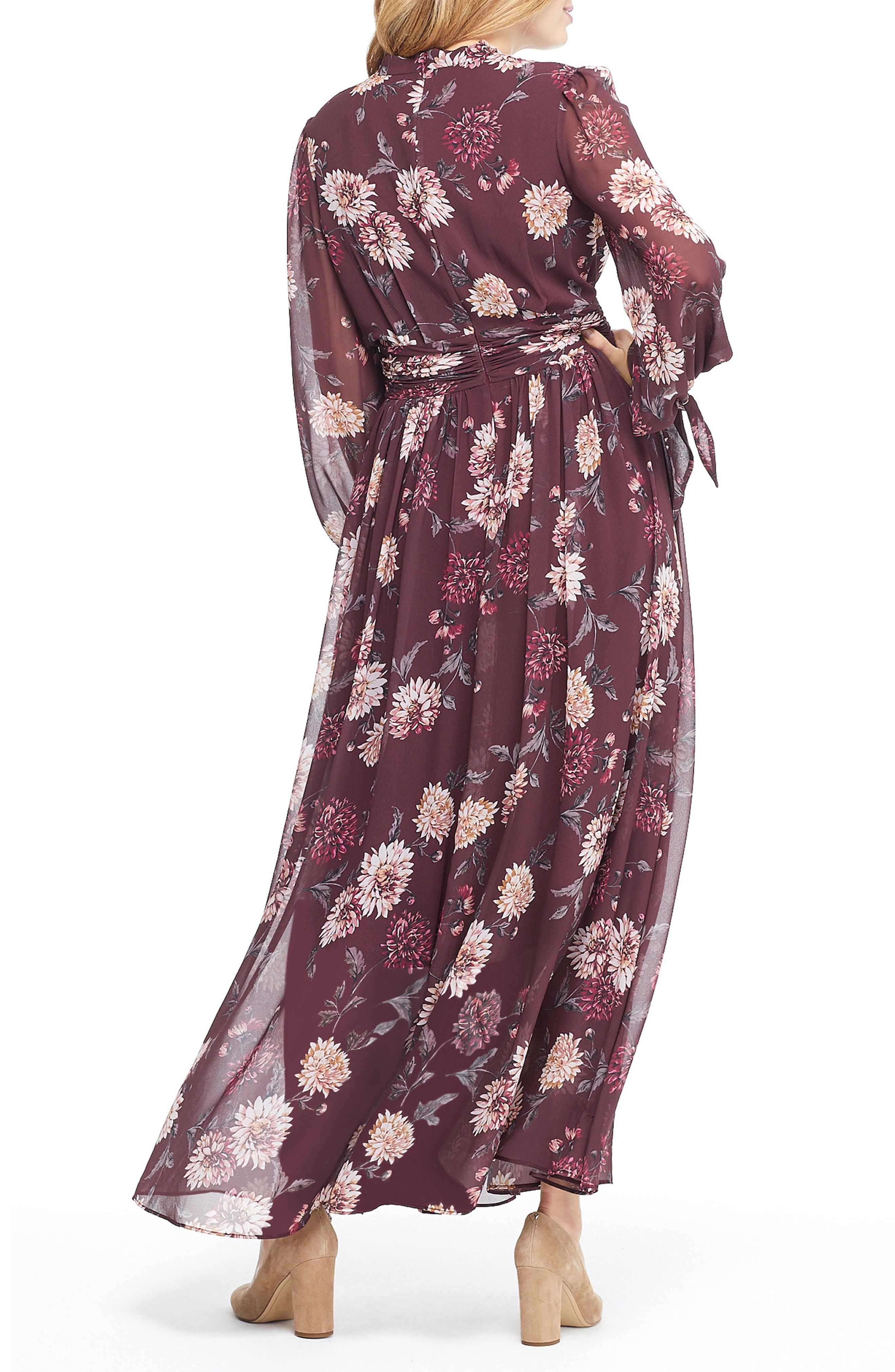 GAL MEETS GLAM COLLECTION,                             Georgia Chiffon Maxi Dress,                             Alternate thumbnail 2, color,                             WINE/ VELVET ROSE