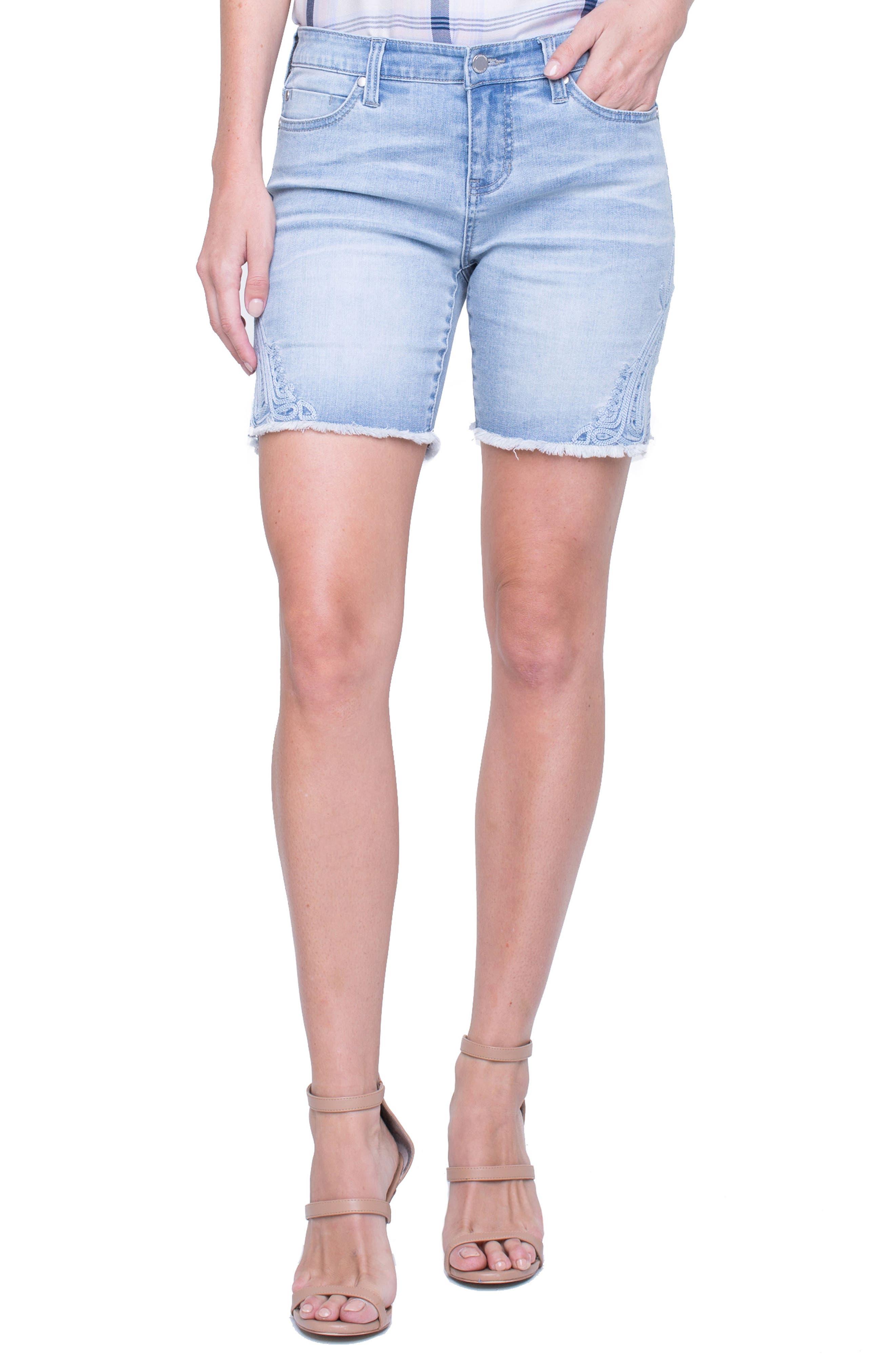 Corine Embroidered Side Slit Denim Shorts,                         Main,                         color, 403