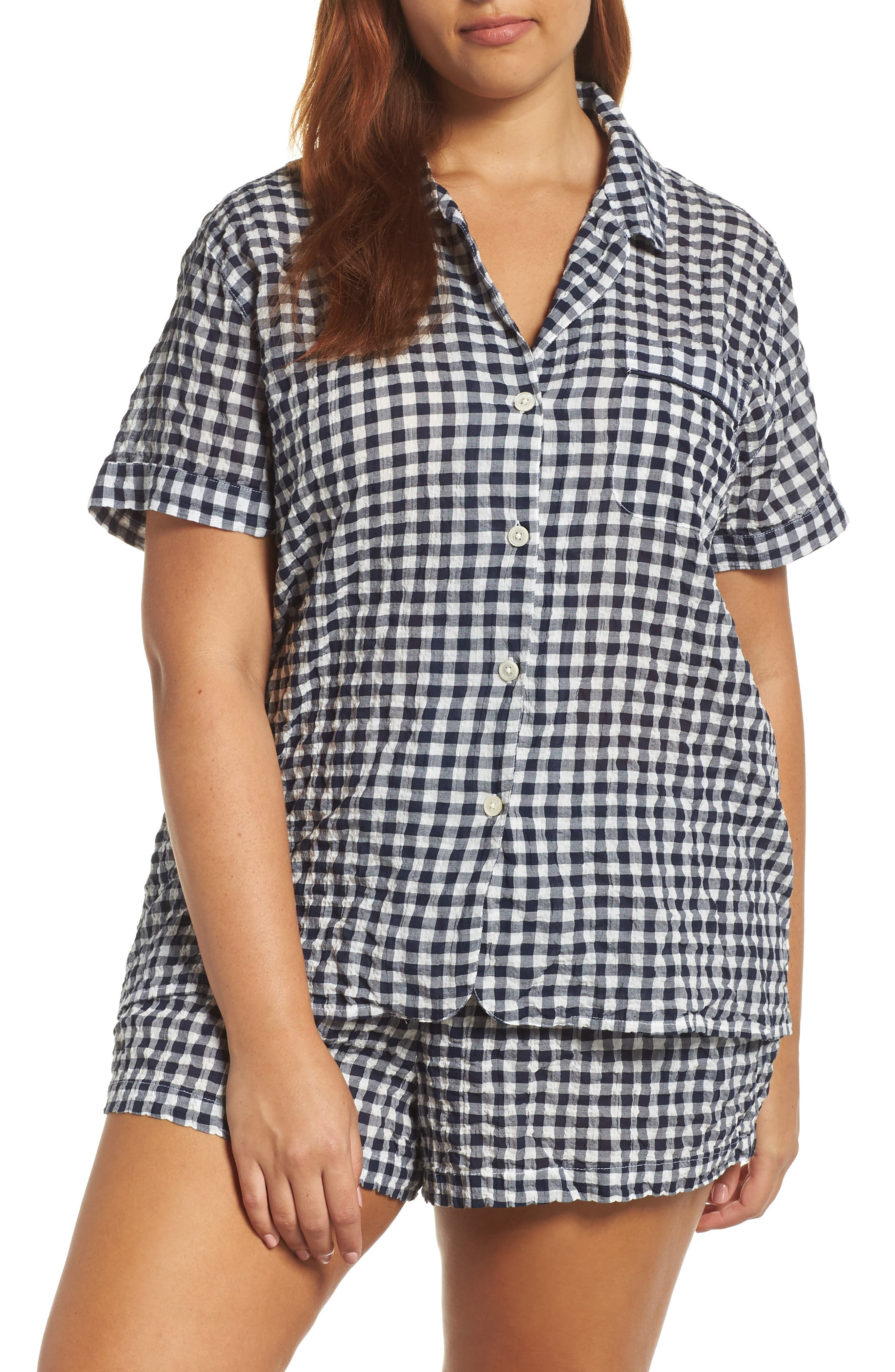 Gingham Pajama Set,                             Alternate thumbnail 2, color,                             IVORY/ NAVY