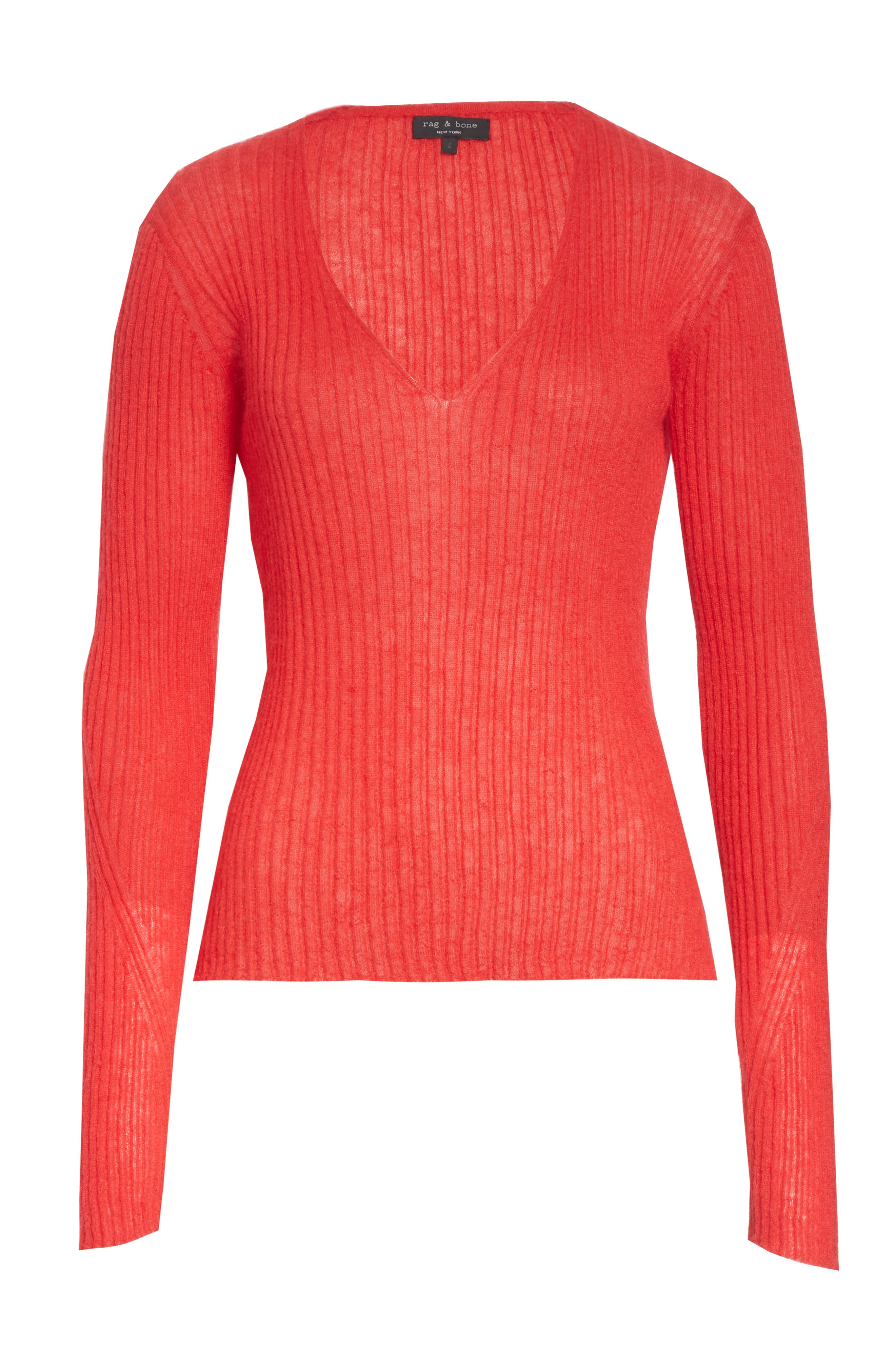 Donna Mohair & Wool Blend Sweater,                             Alternate thumbnail 6, color,                             RED