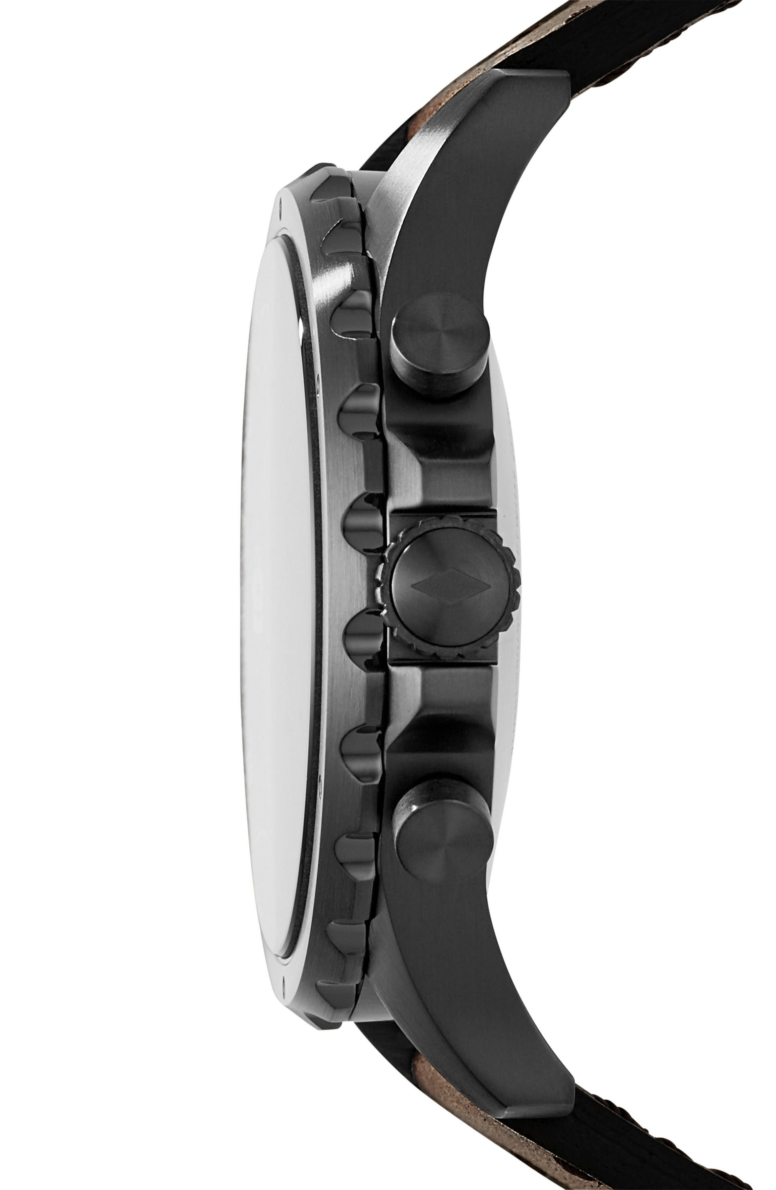Nate Leather Strap Hybrid Smart Watch, 50mm,                             Alternate thumbnail 3, color,                             200
