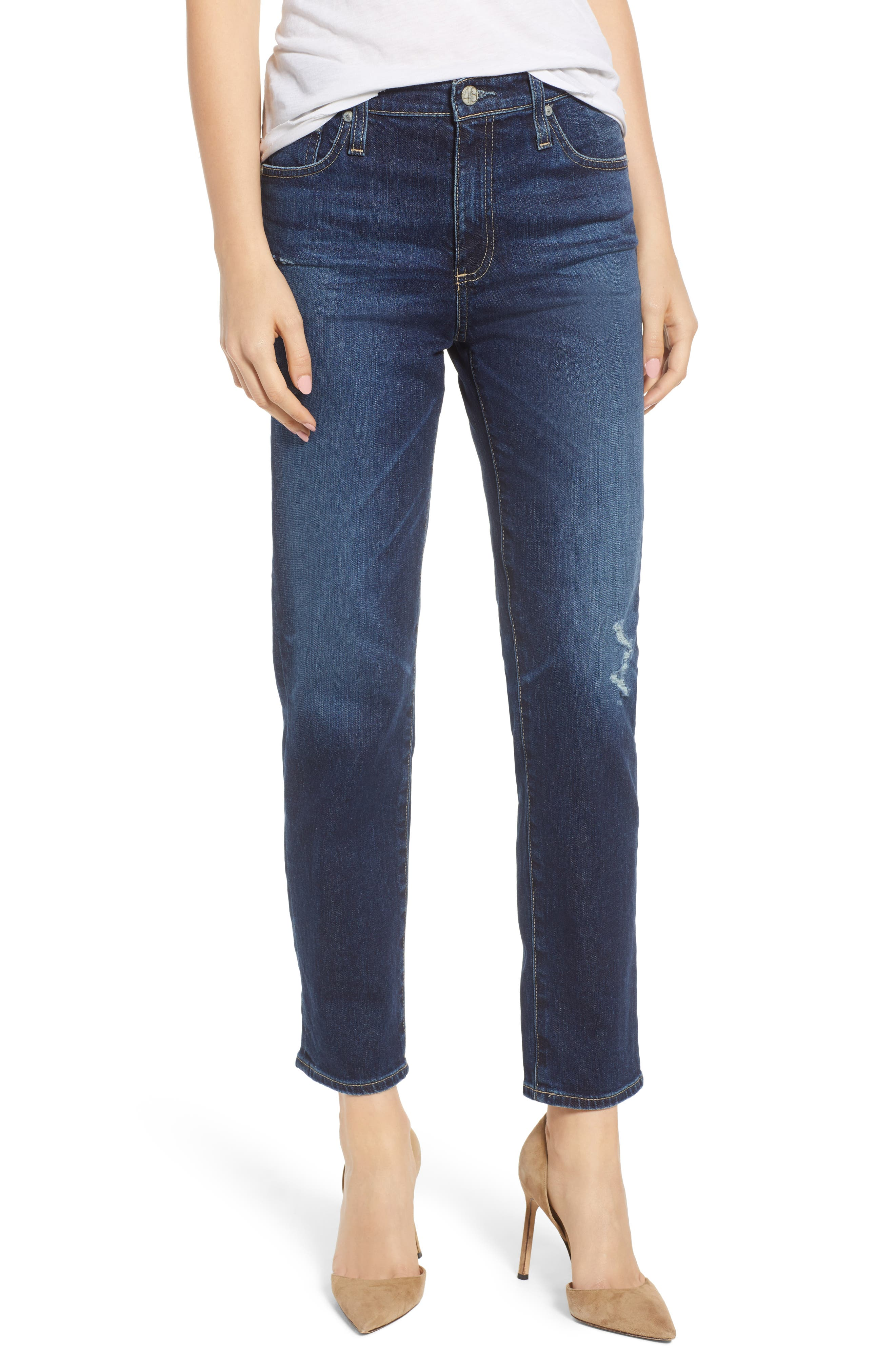 The Isabelle High Waist Crop Straight Leg Jeans,                             Main thumbnail 1, color,                             12 YEARS VERBIAGE