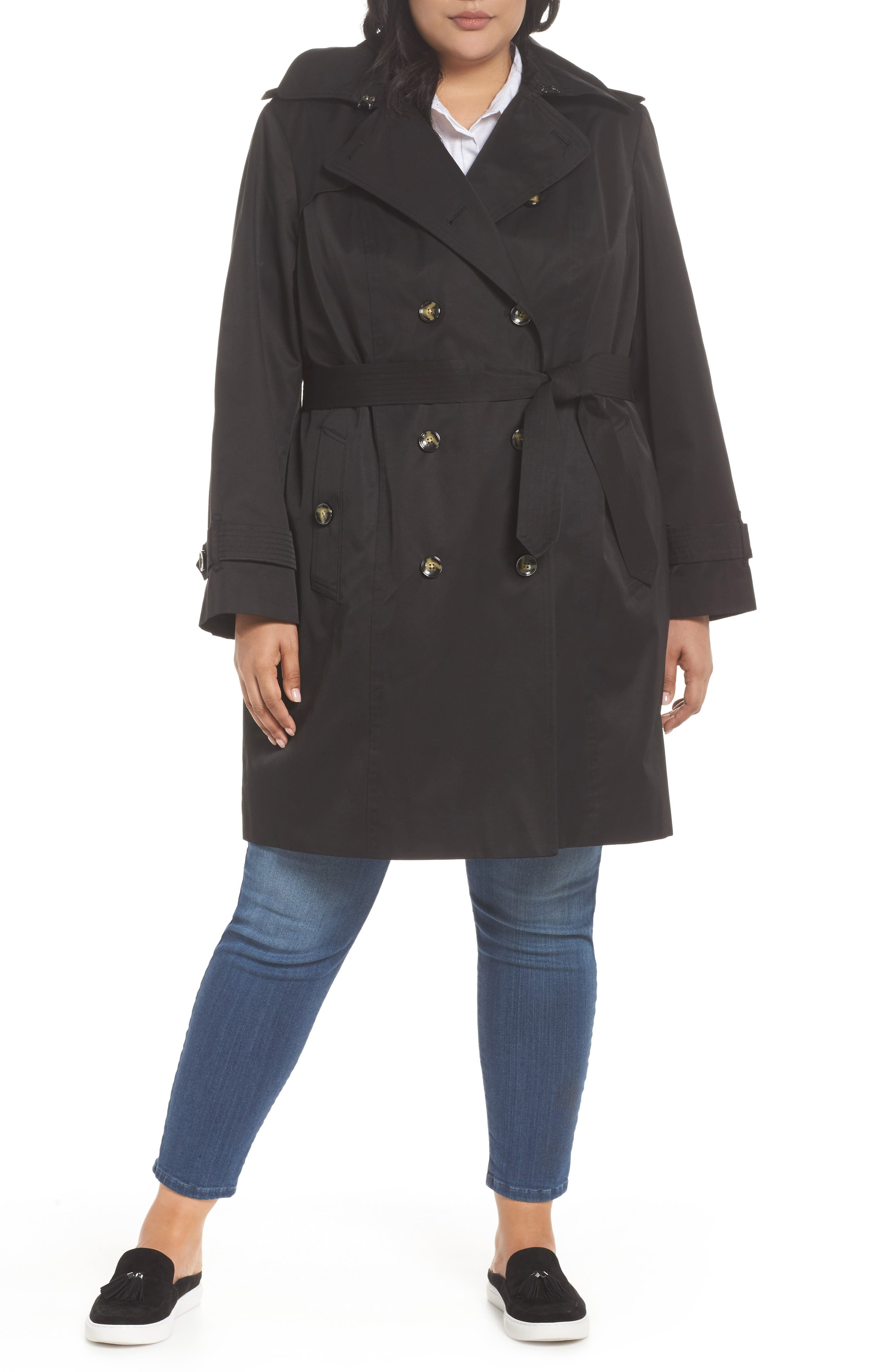 Hooded Double Breasted Trench Coat,                             Main thumbnail 1, color,                             BLACK