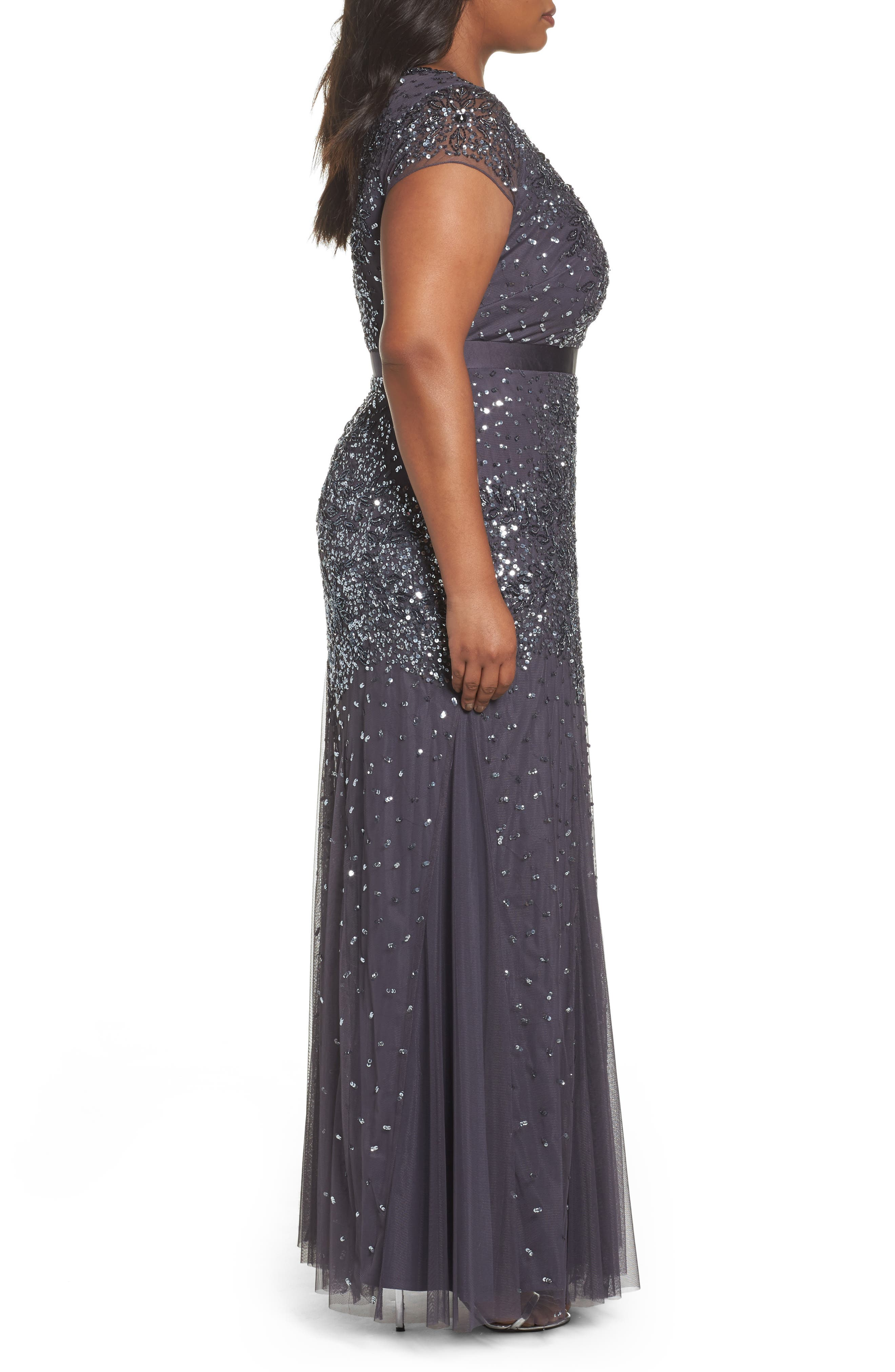 Beaded V-Neck Gown,                             Alternate thumbnail 4, color,                             GUNMETAL