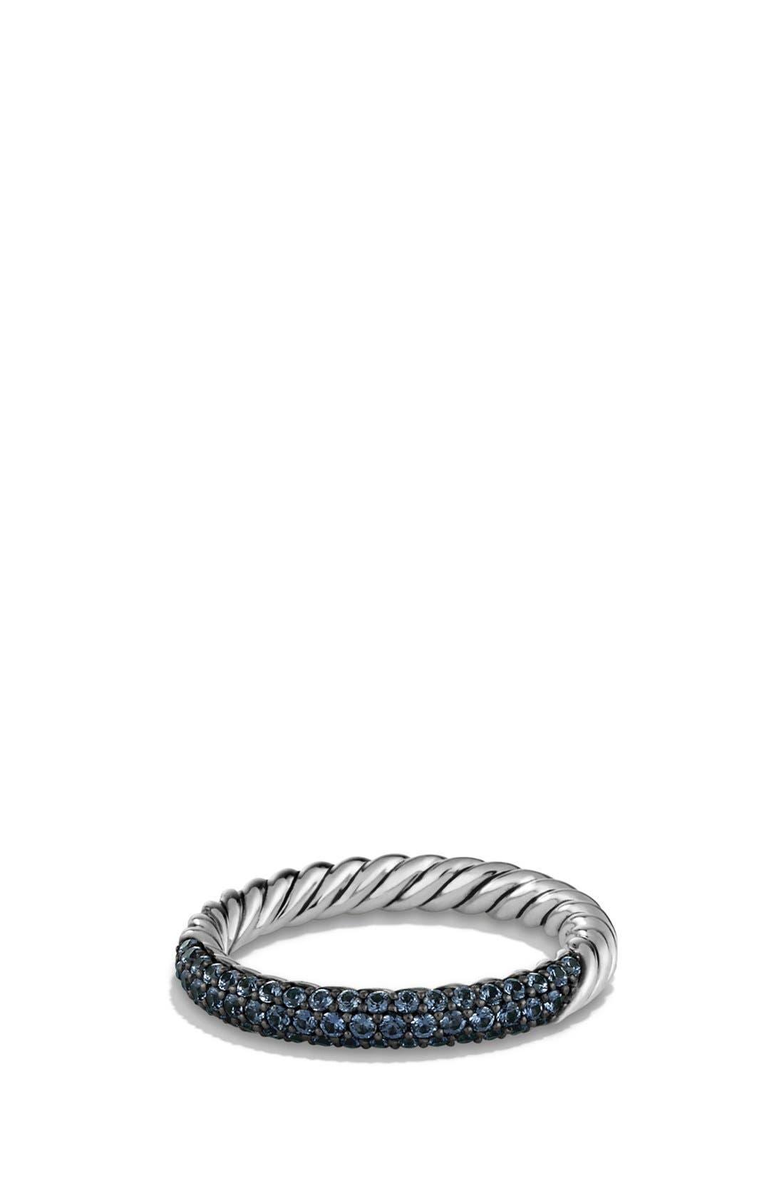 'Petite Pavé' Ring with Sapphires,                             Main thumbnail 1, color,                             BLUE SAPHIRE