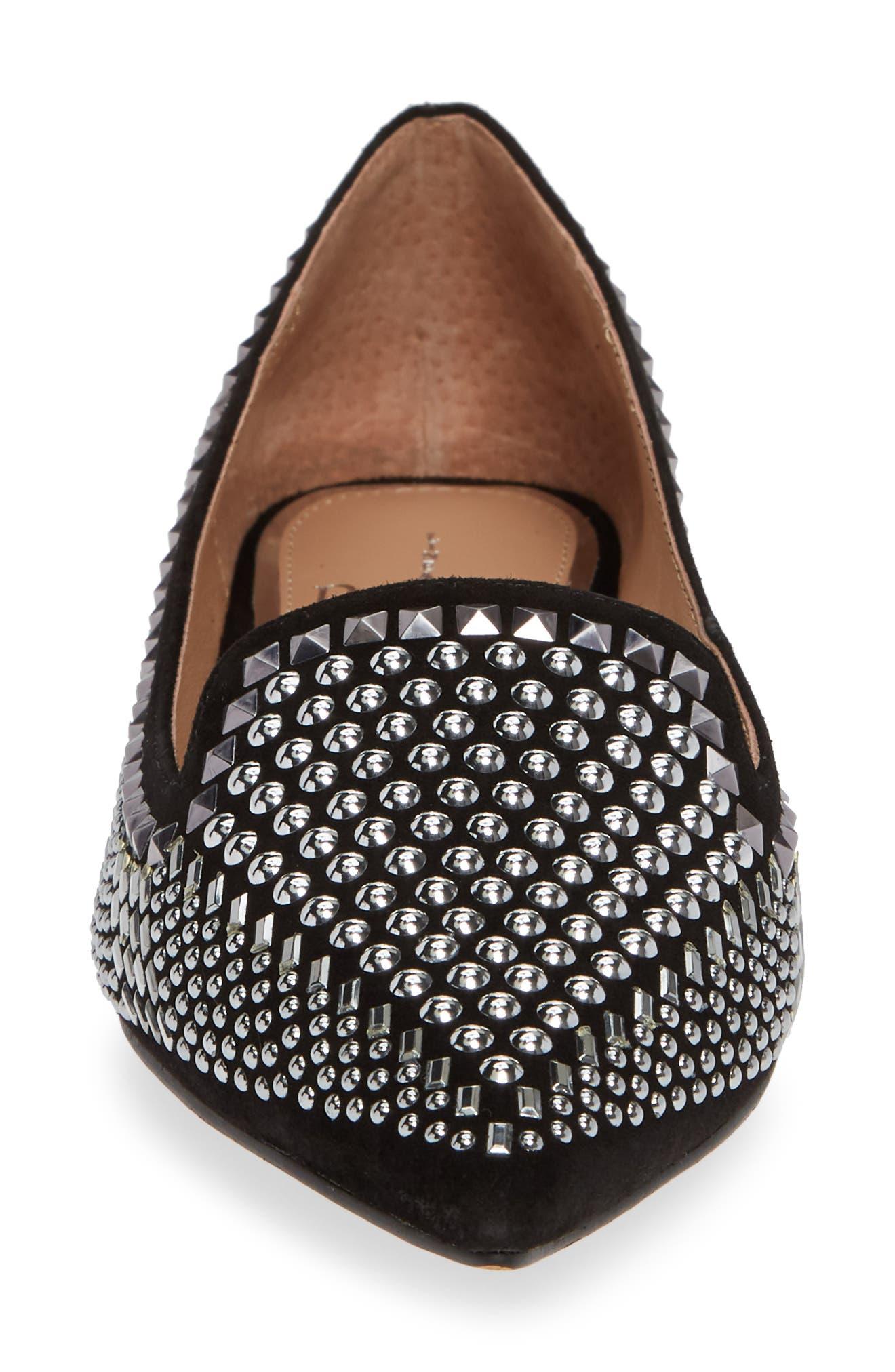 Portia Studded Loafer,                             Alternate thumbnail 4, color,                             BLACK SUEDE