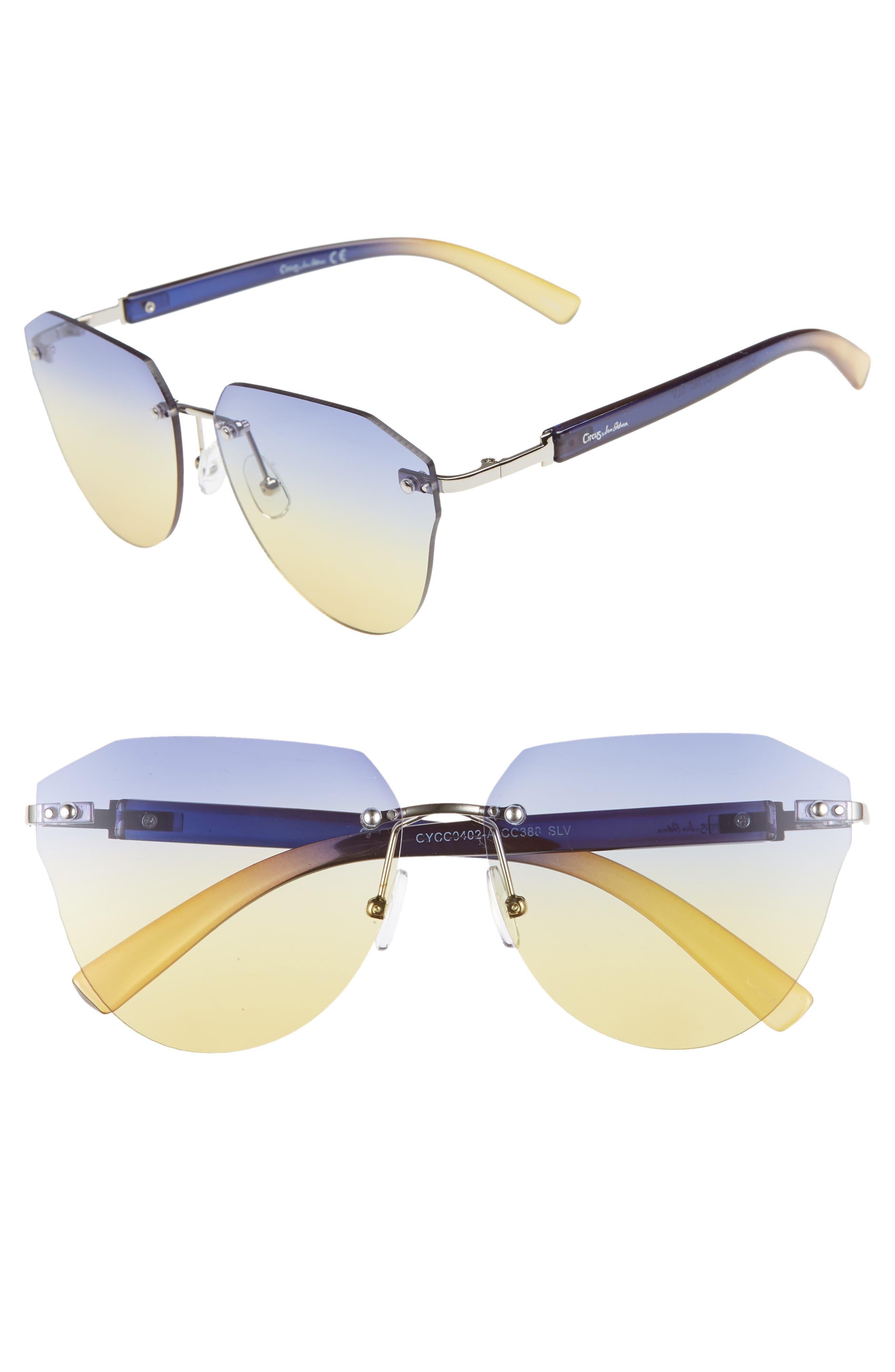 CIRCUS BY SAM EDELMAN 60Mm Rimless Cat Eye Sunglasses - Silver/ Blue Yellow Lens