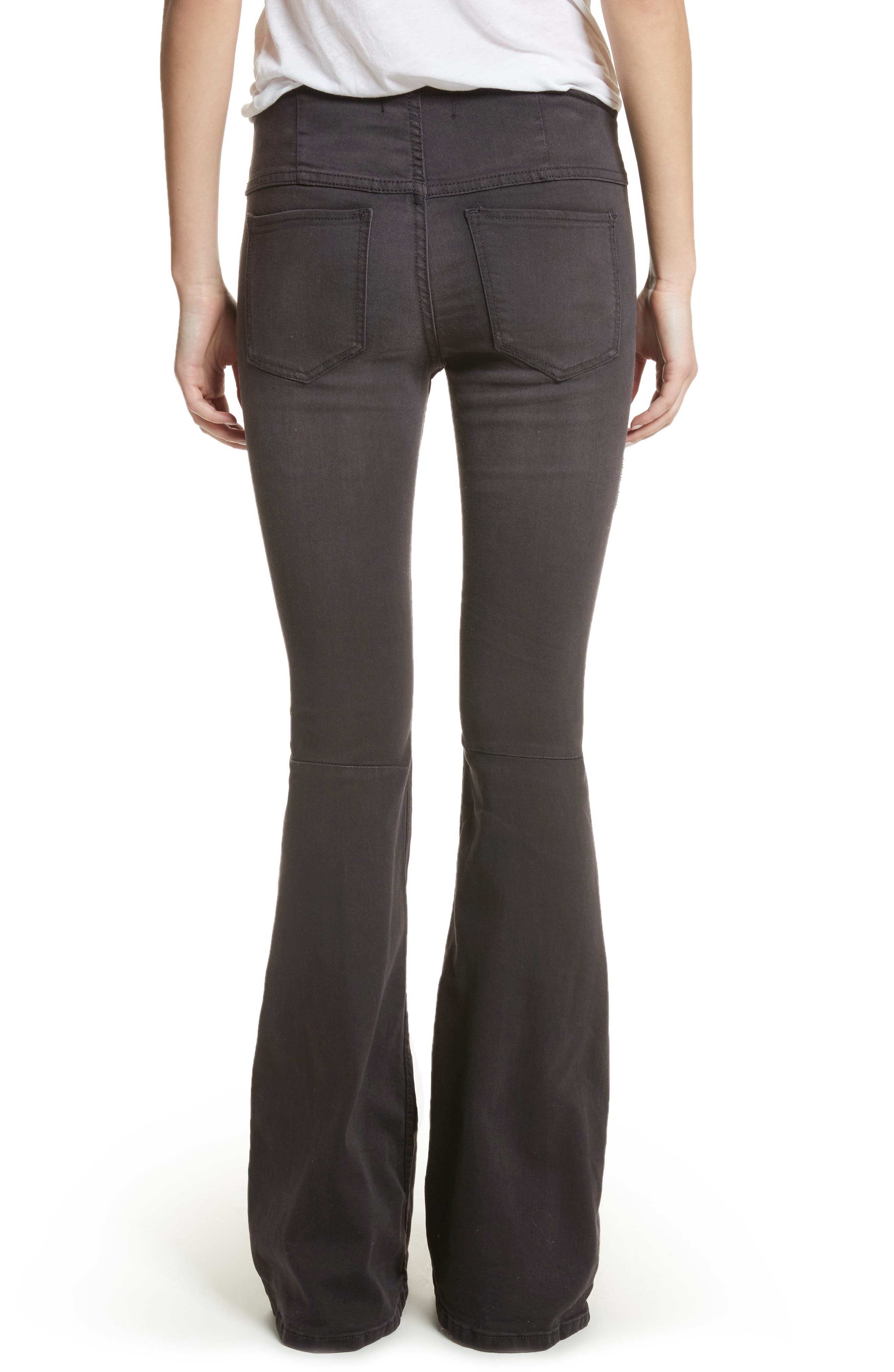We the Free by Free People Gummy Pull-On Flare Leg Jeans,                             Alternate thumbnail 2, color,                             BLACK