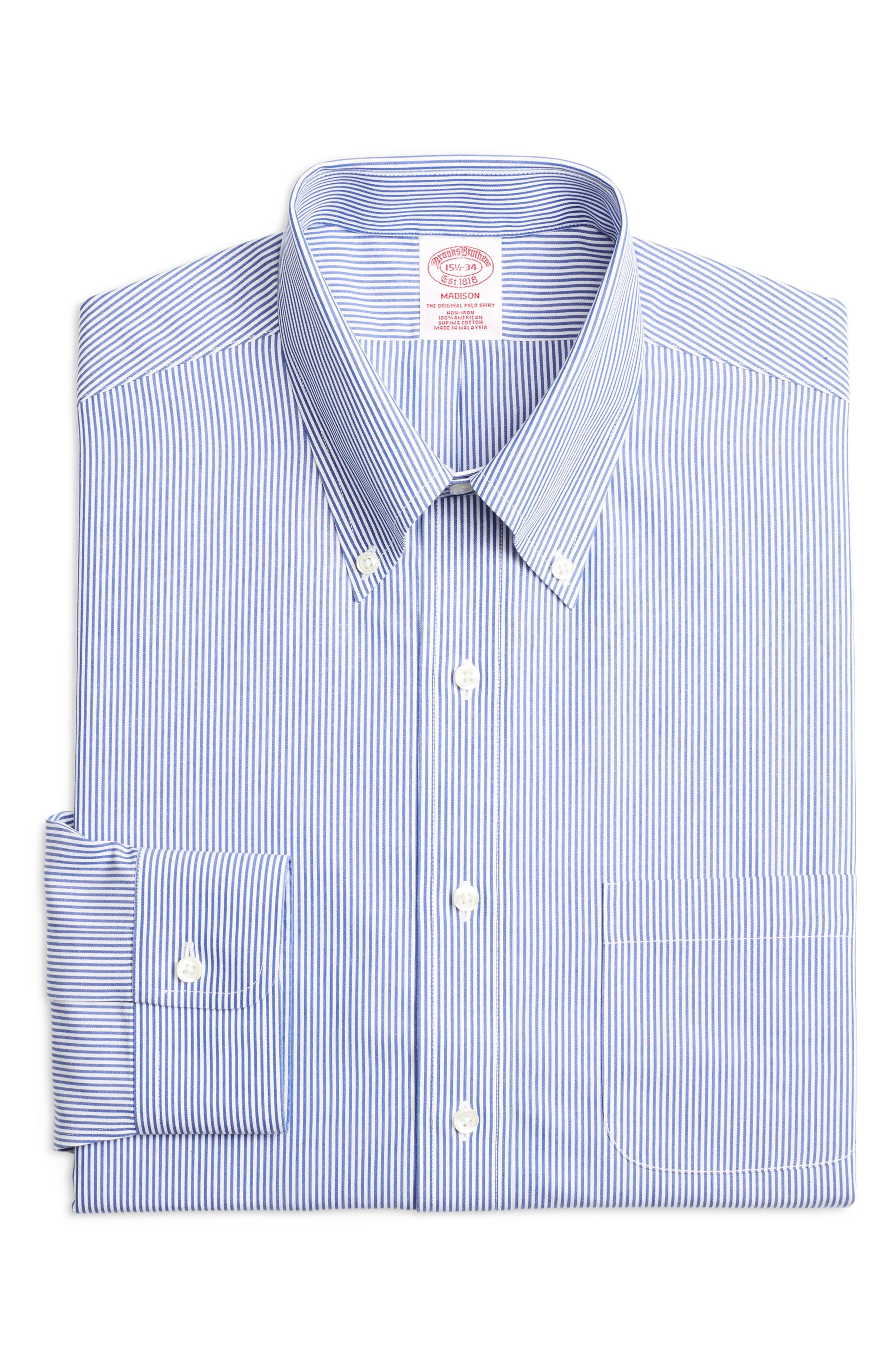 Classic Fit Stripe Dress Shirt,                             Main thumbnail 1, color,                             BLUE