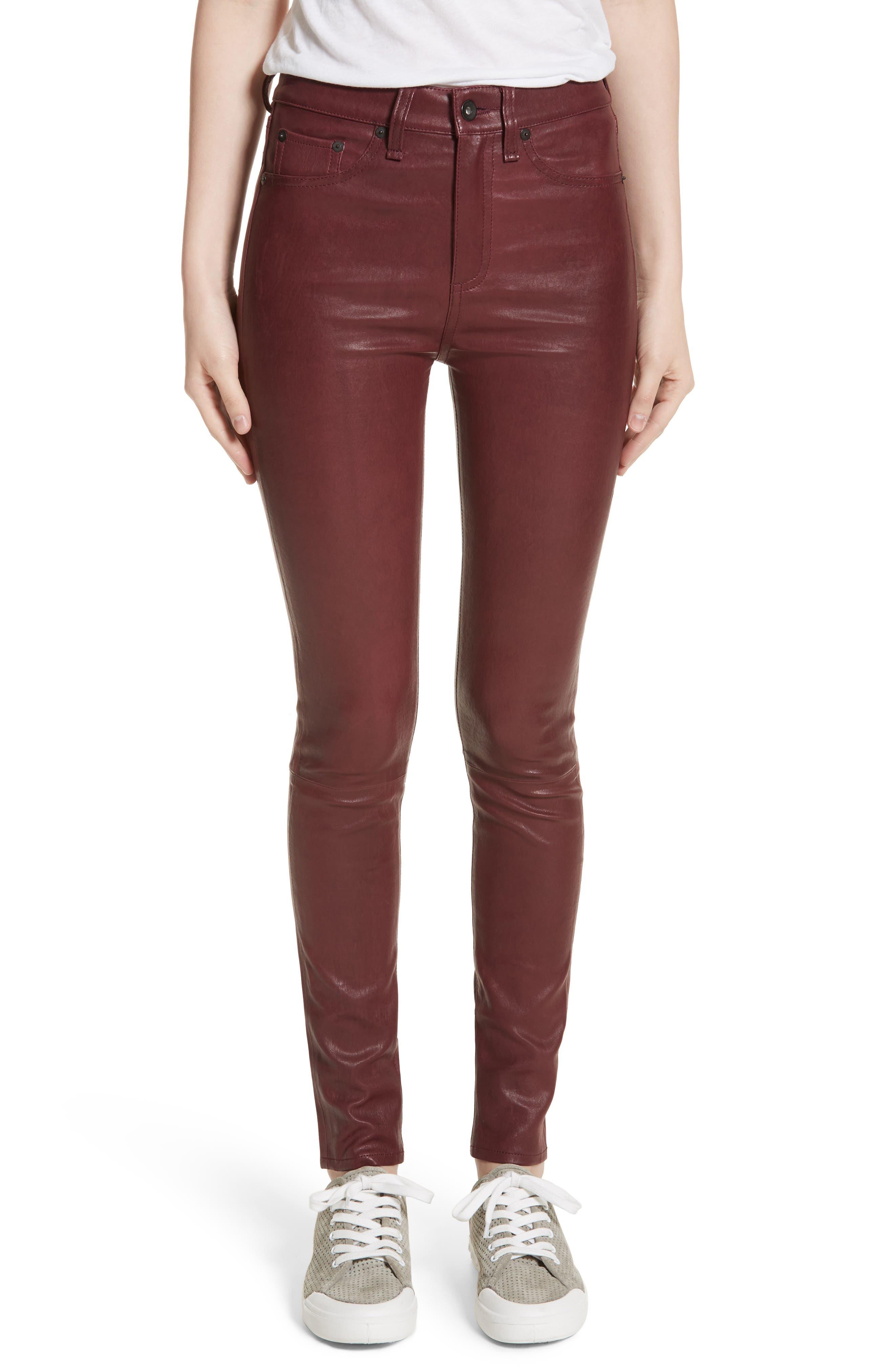Lambskin Leather Pants,                             Main thumbnail 4, color,