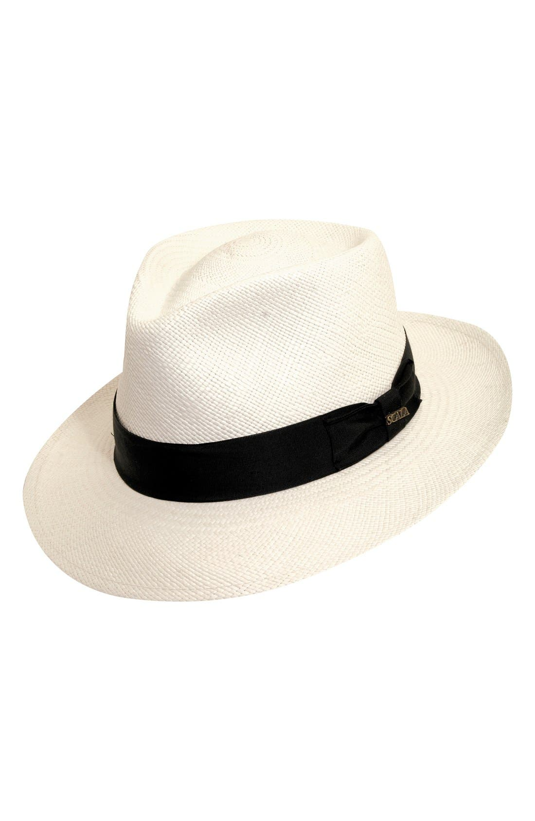 Straw Panama Hat,                         Main,                         color, BLEACH