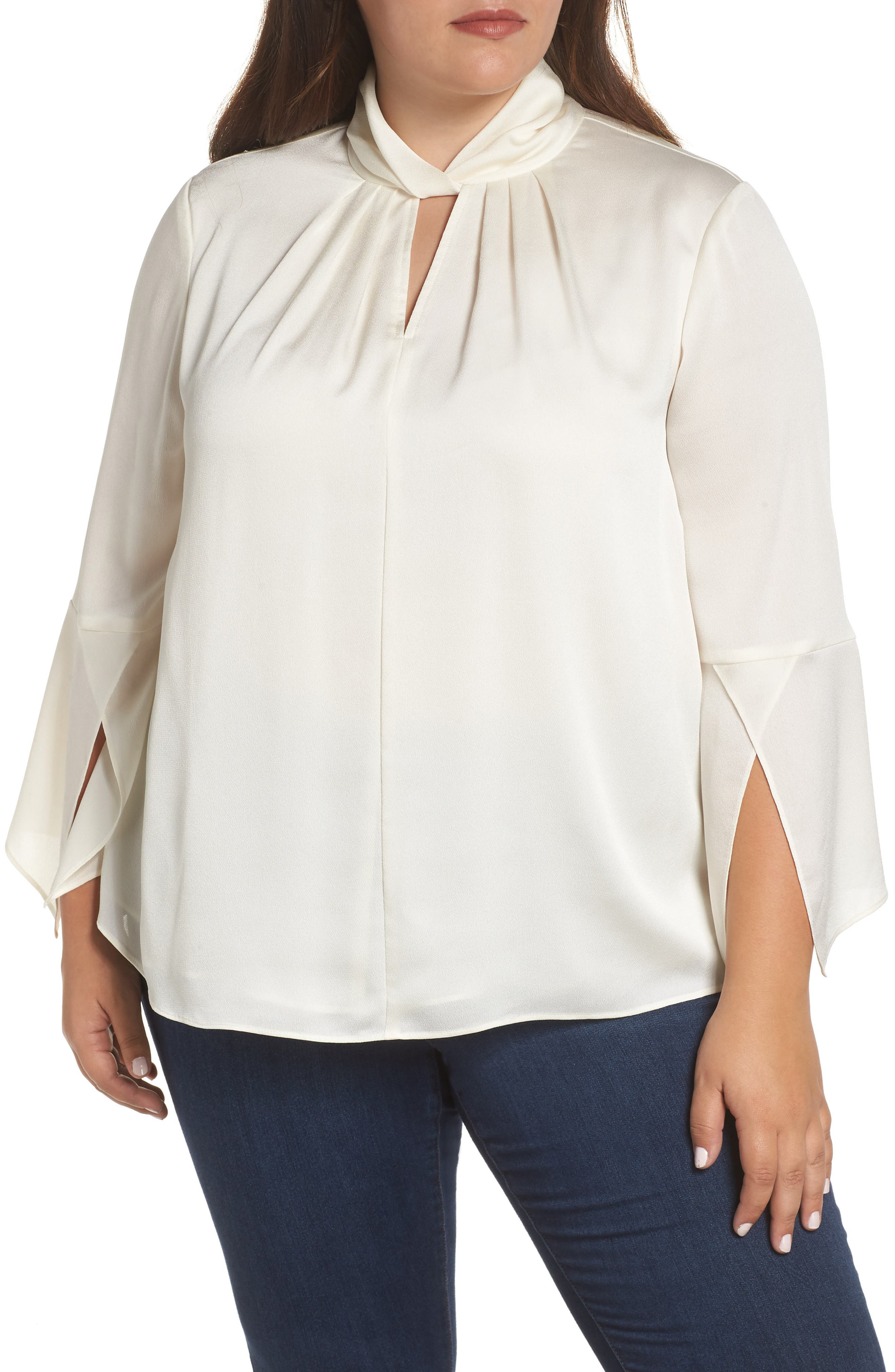Twist Neck Blouse, Main, color, PEARL IVORY