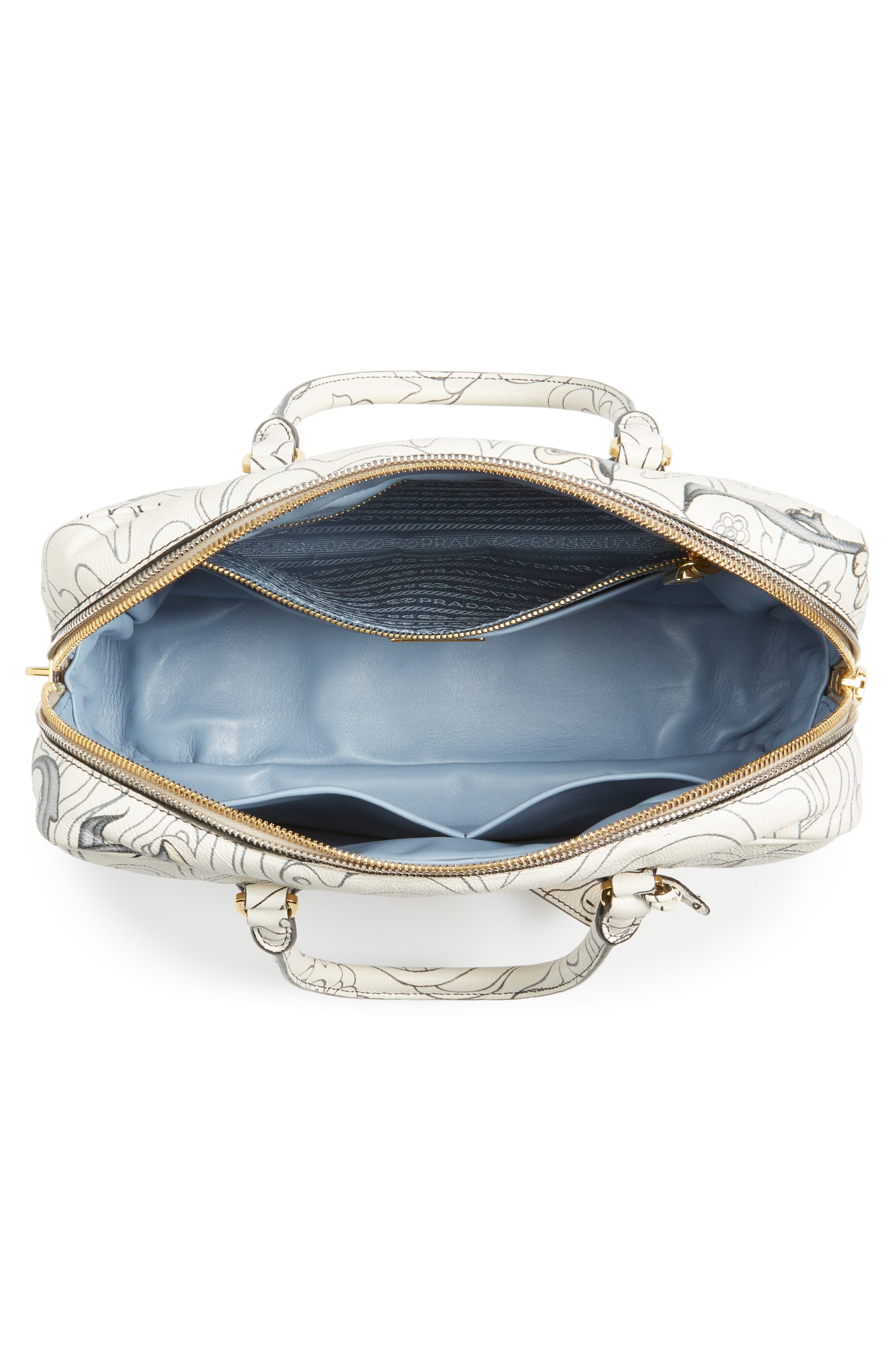Glace Calfskin Rabbit Bowler Bag,                             Alternate thumbnail 4, color,                             100