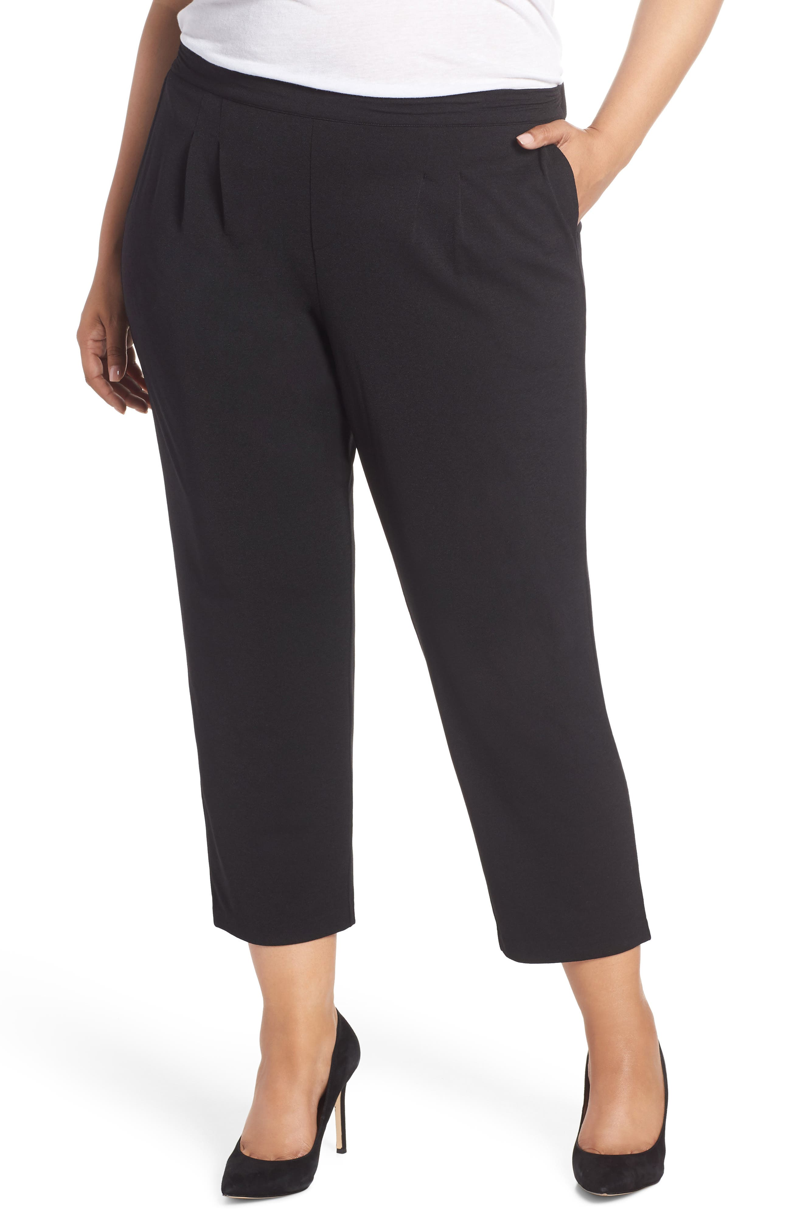 LEMON TART Jesse High Rise Crop Pants, Main, color, BLACK