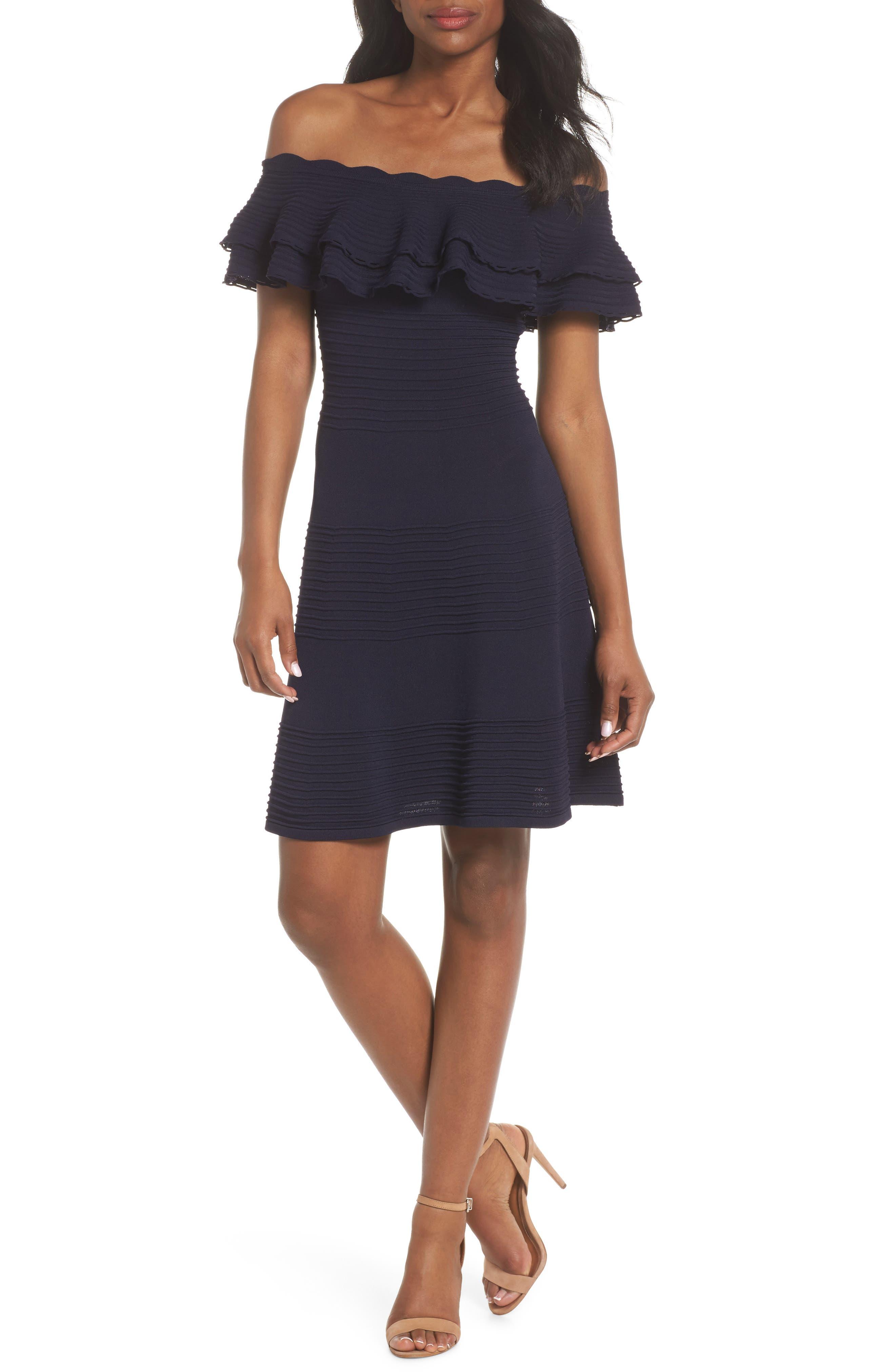 Off the Shoulder Fit & Flare Dress,                         Main,                         color, NAVY