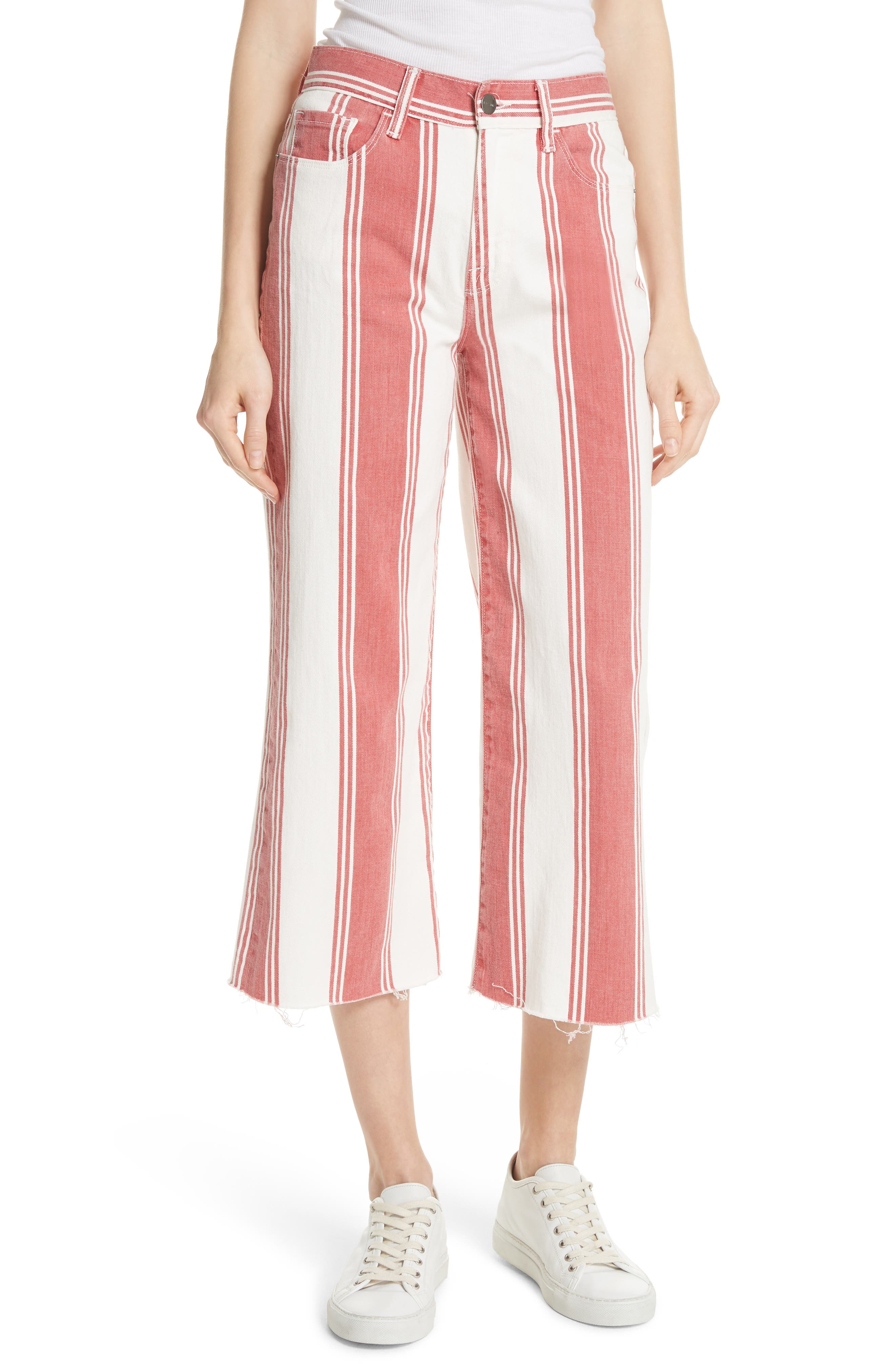 Vintage Stripe Crop Jeans,                             Main thumbnail 1, color,                             FIERY STRIPE