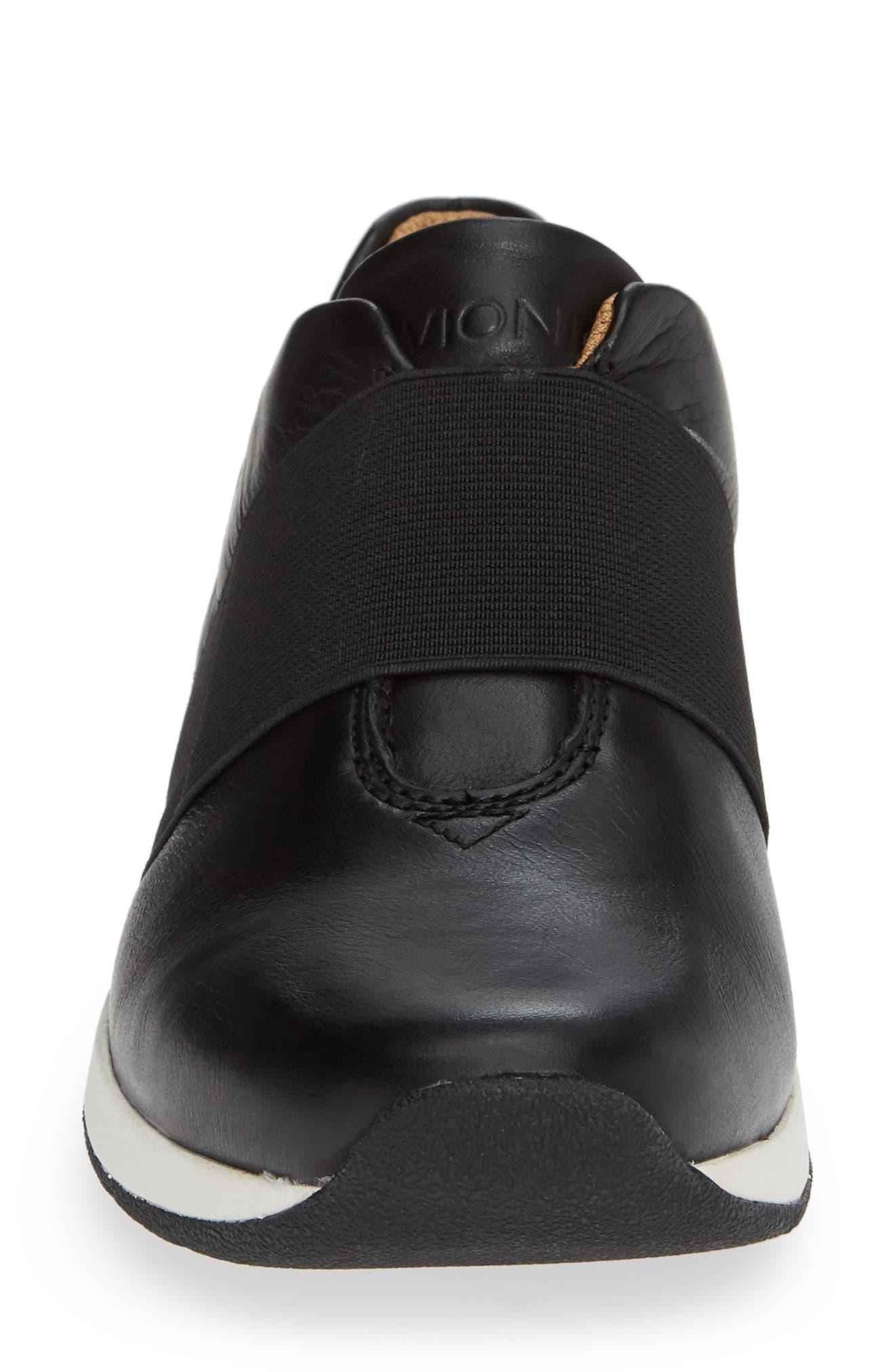 Codie Slip-On Sneaker,                             Alternate thumbnail 4, color,                             BLACK LEATHER