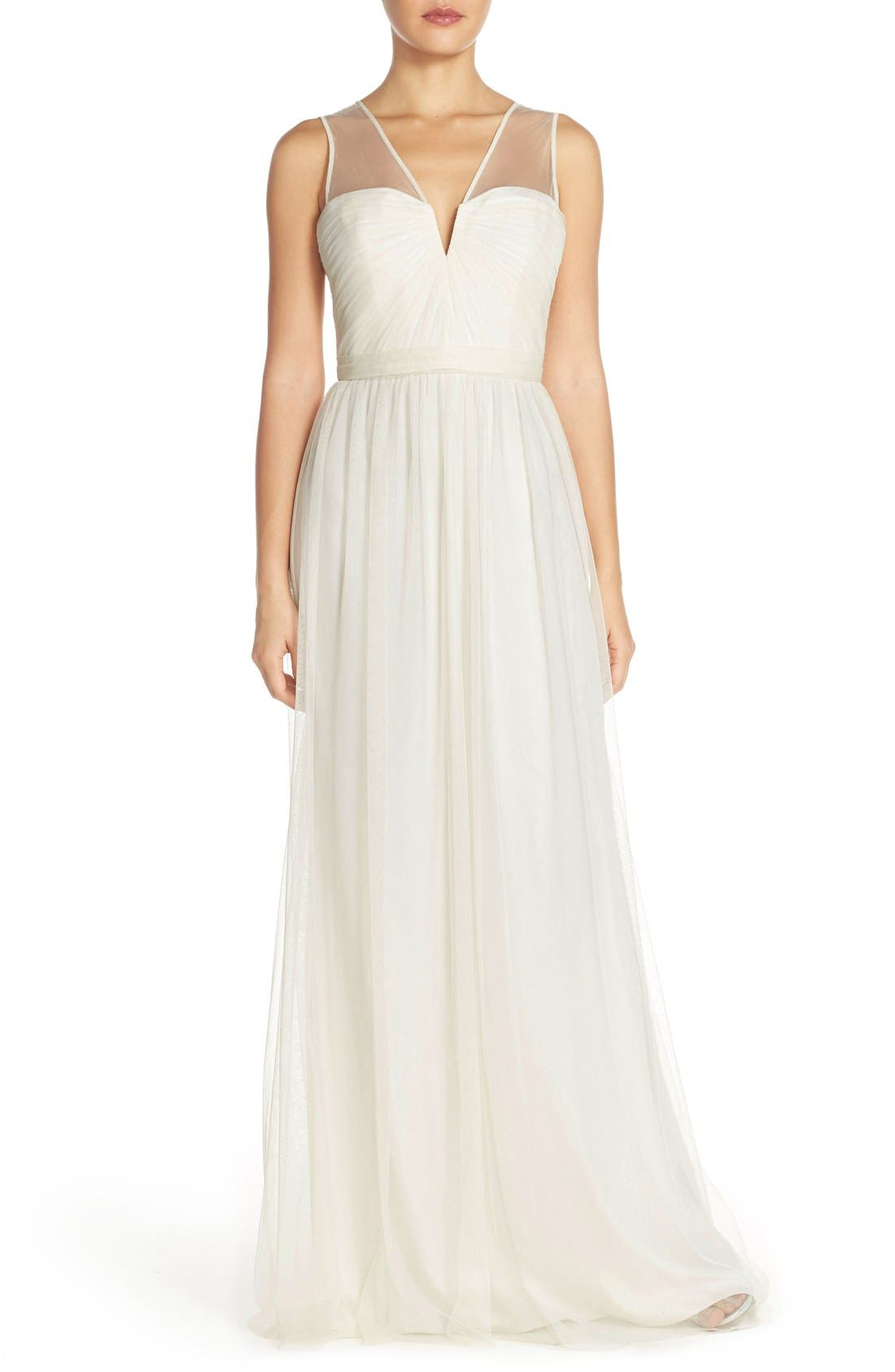 'Alyce' Illusion V-Neck Pleat Tulle Gown,                             Main thumbnail 4, color,