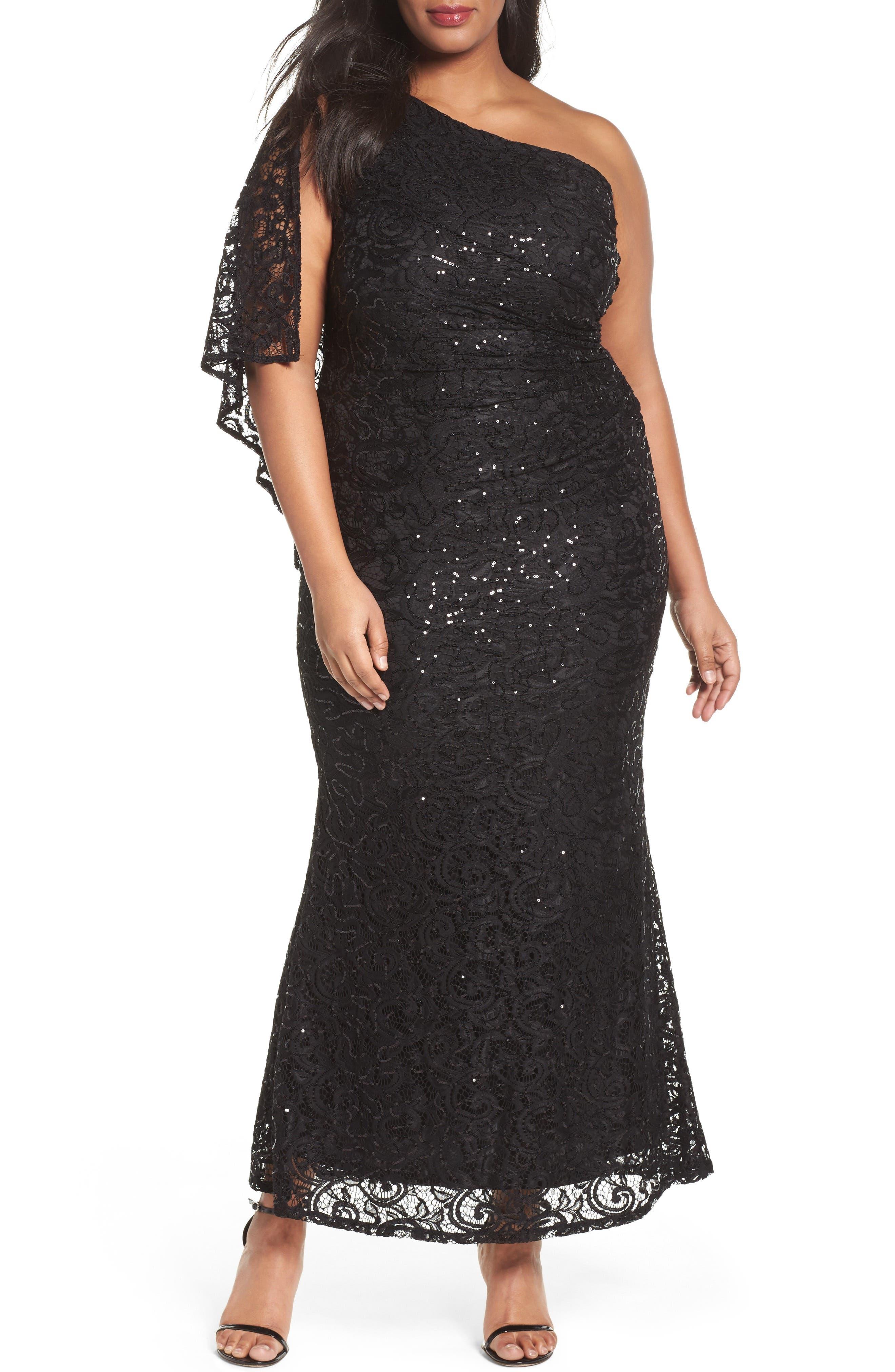 Sequin Lace One-Shoulder Gown,                         Main,                         color, 001