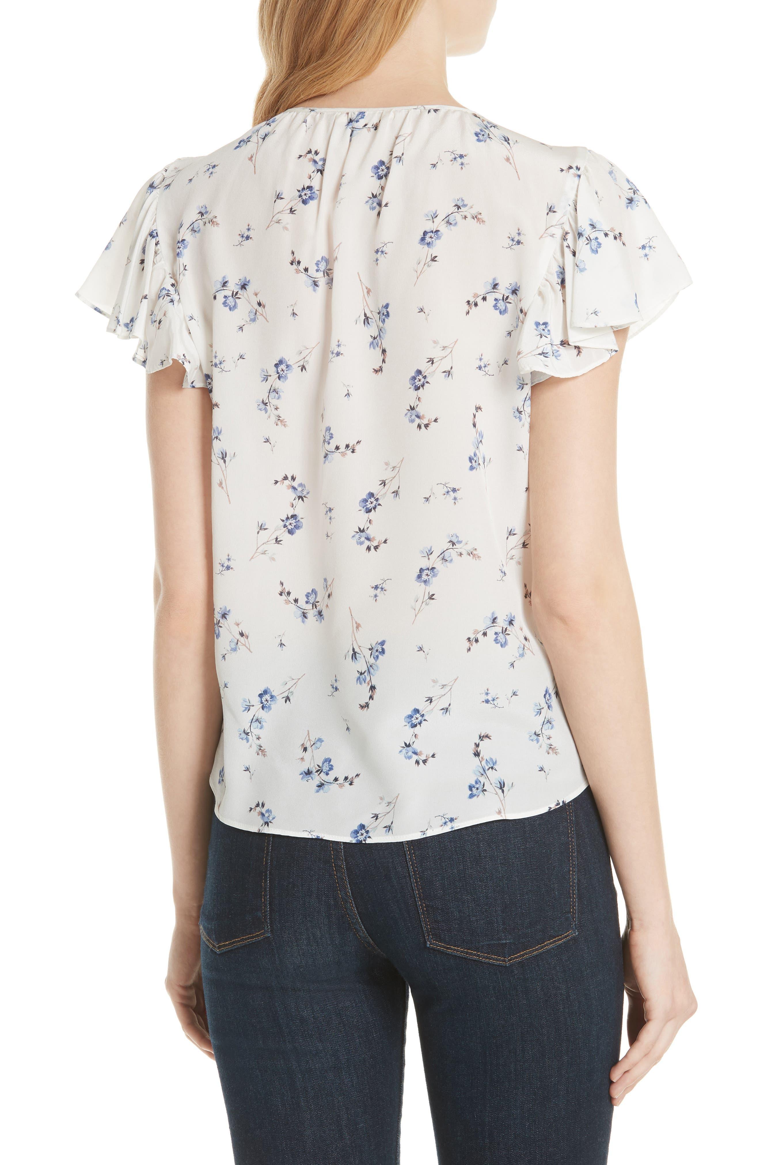 Francine Floral Silk Top,                             Alternate thumbnail 2, color,                             103