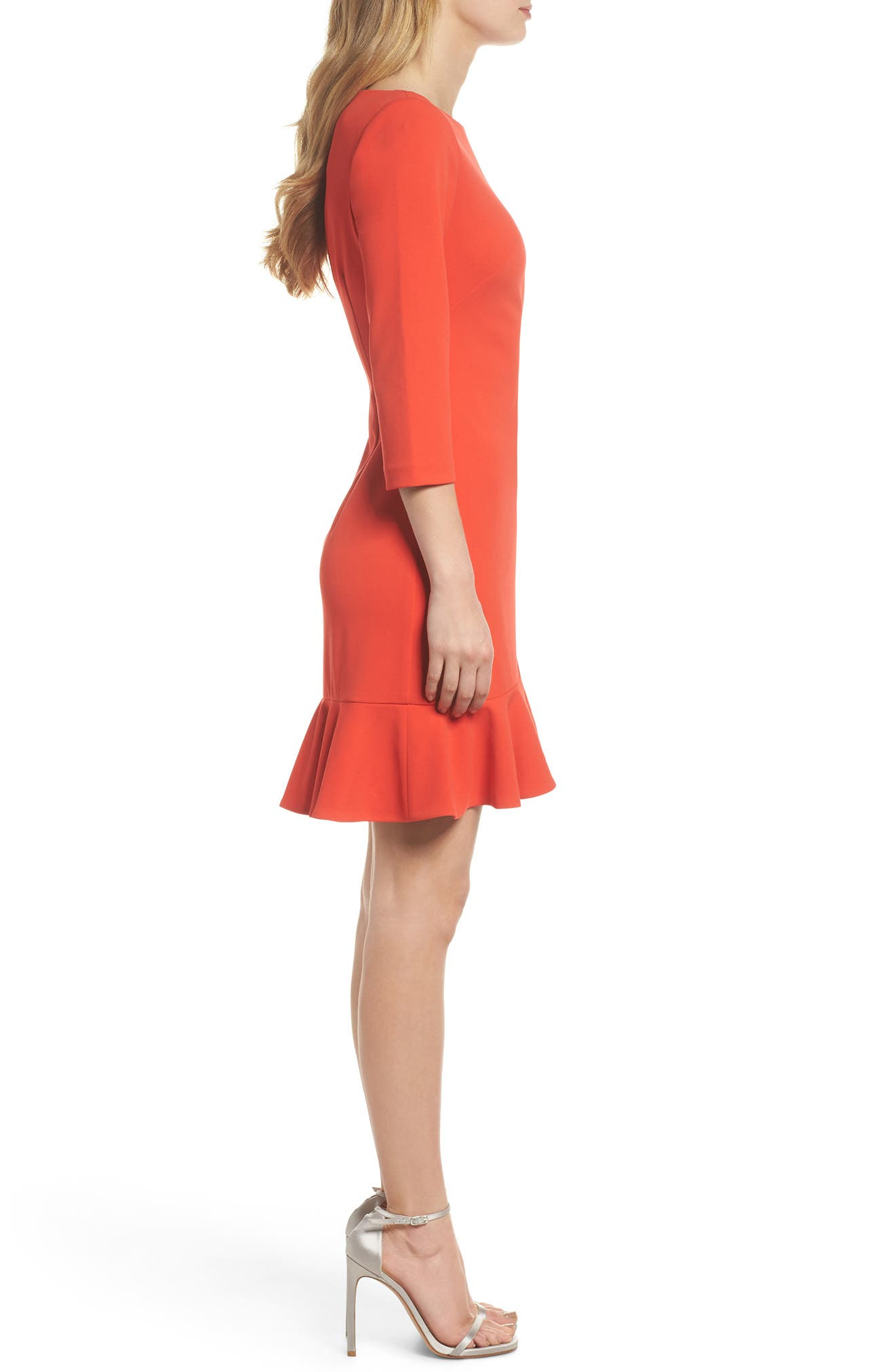 Crepe Ruffle Hem Body-Con Dress,                             Alternate thumbnail 6, color,