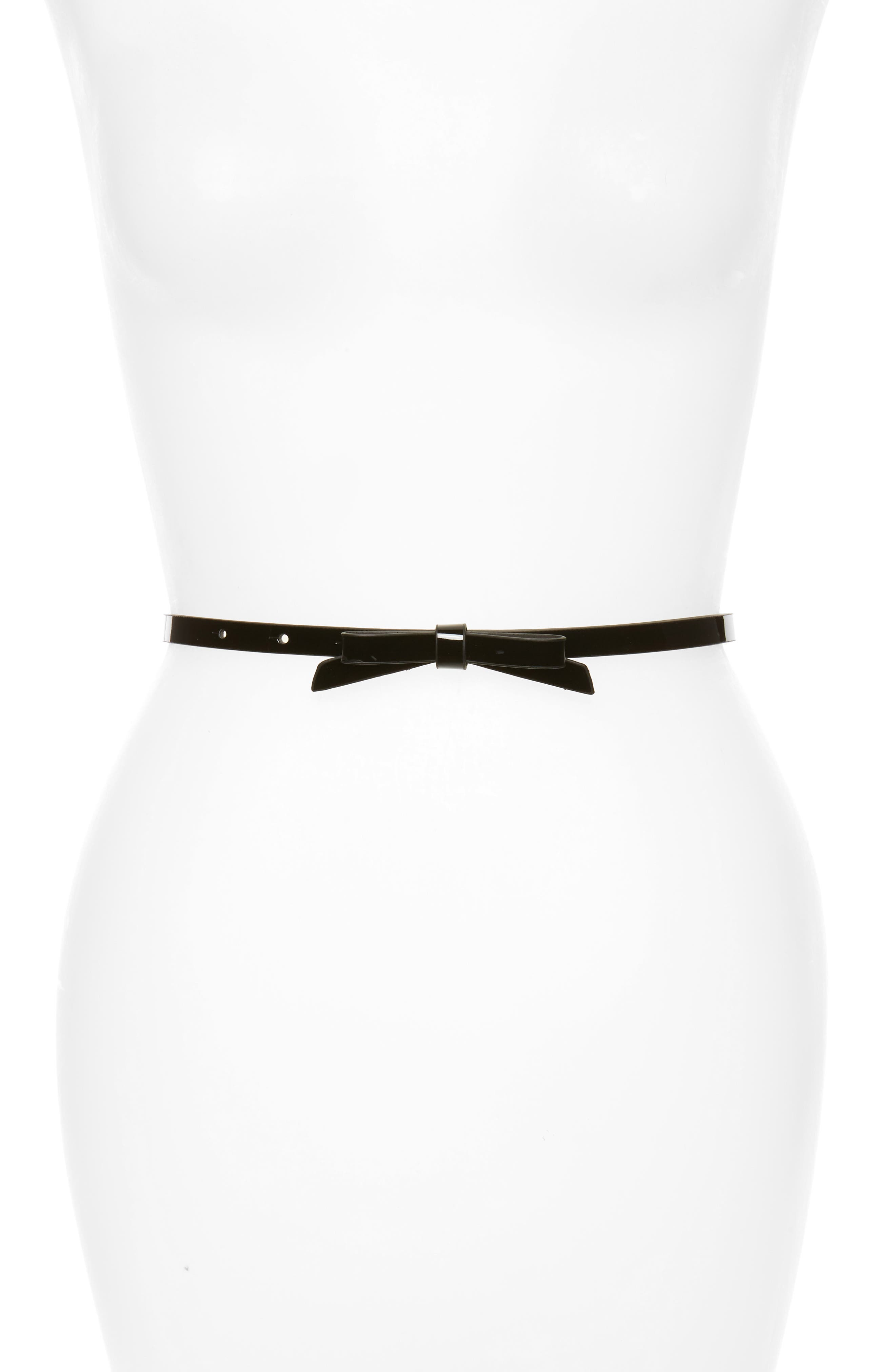Halogen Patent Bow Belt,                         Main,                         color, BLACK