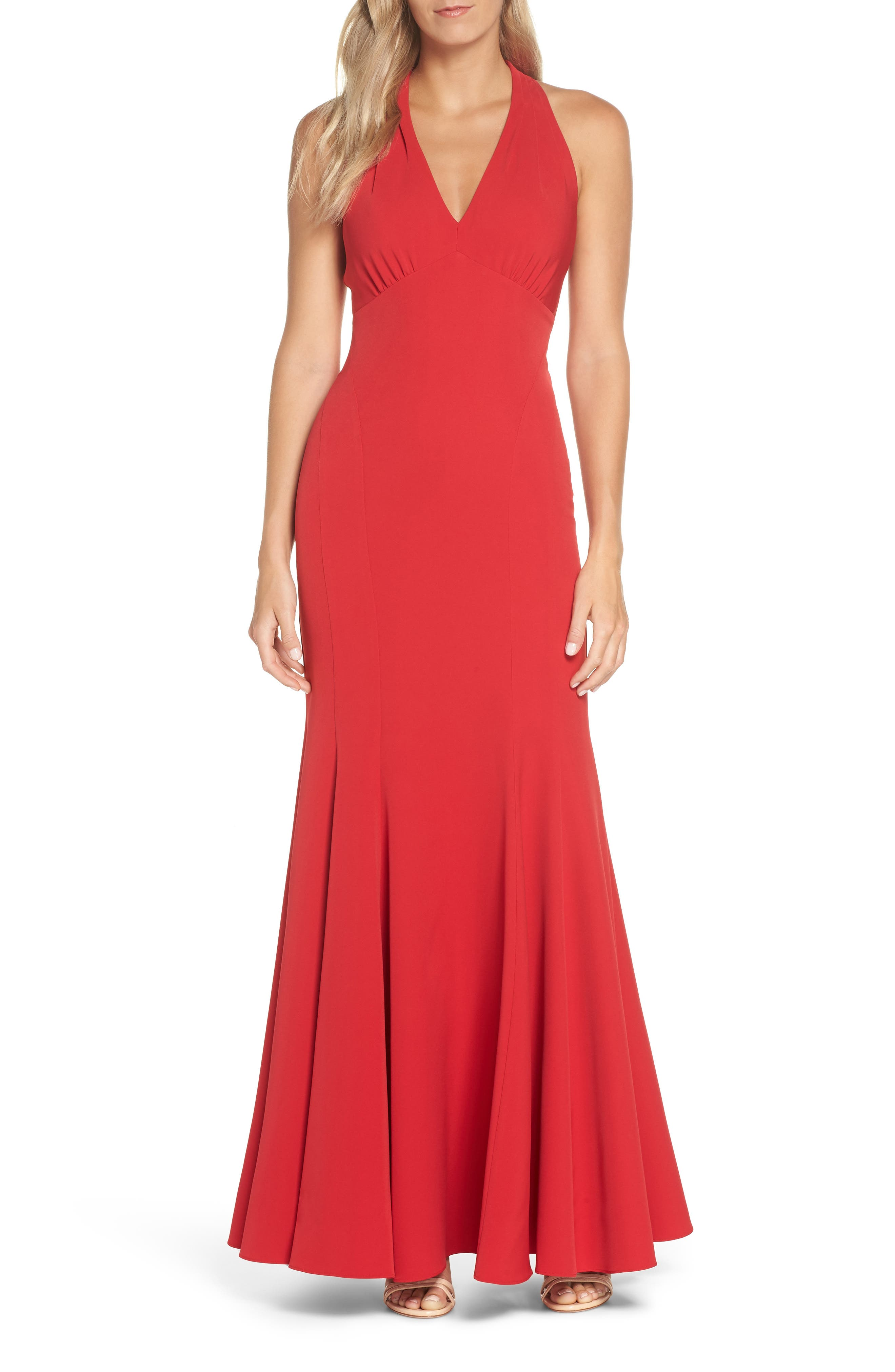 Vince Camuto Halter Trumpet Gown, Red