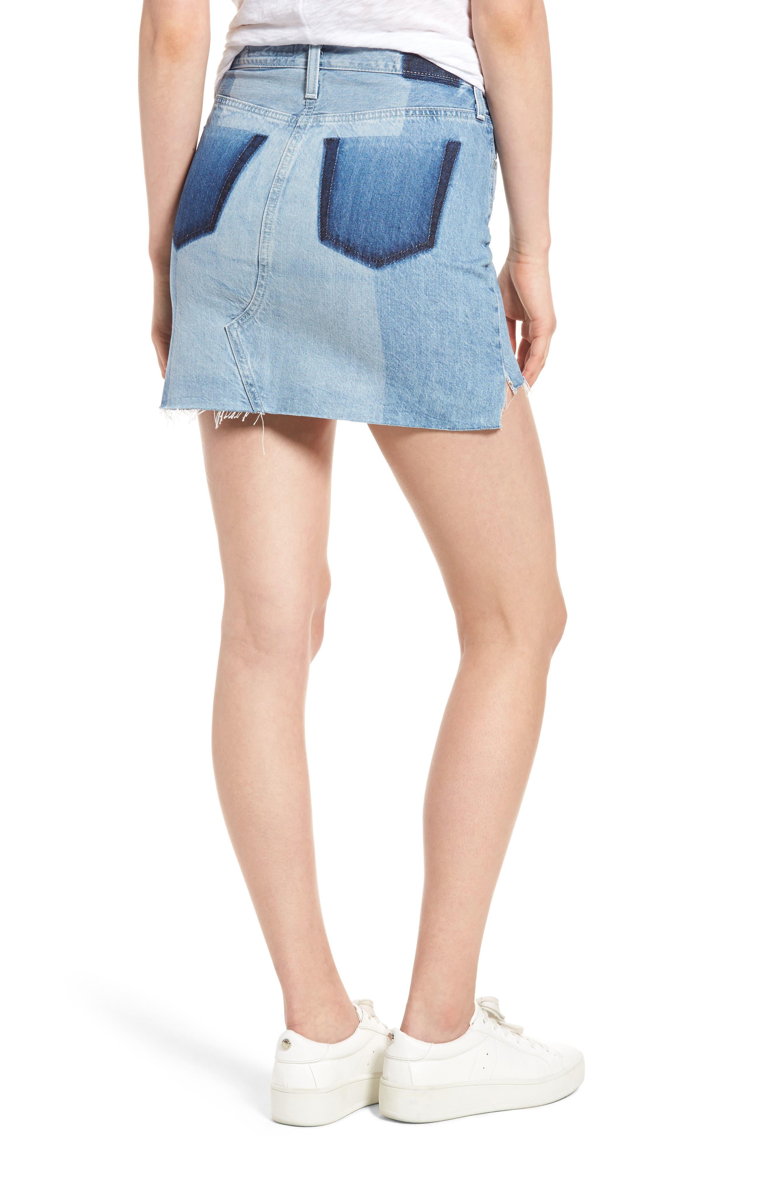 Sandy Raw Edge Denim Miniskirt,                             Alternate thumbnail 2, color,                             466
