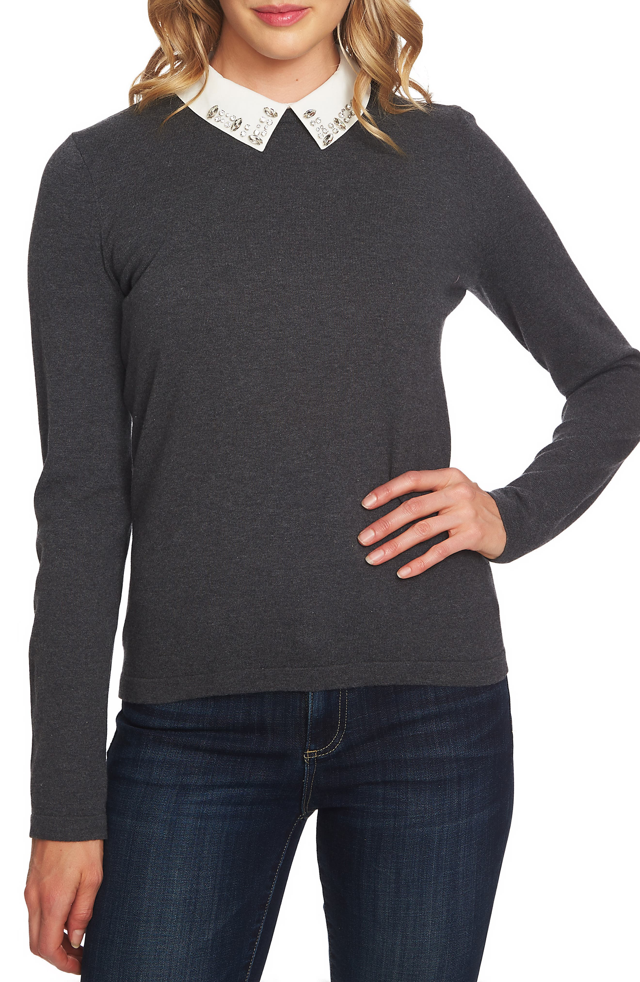 Embellished Collar Cotton Blend Sweater,                             Main thumbnail 1, color,                             020