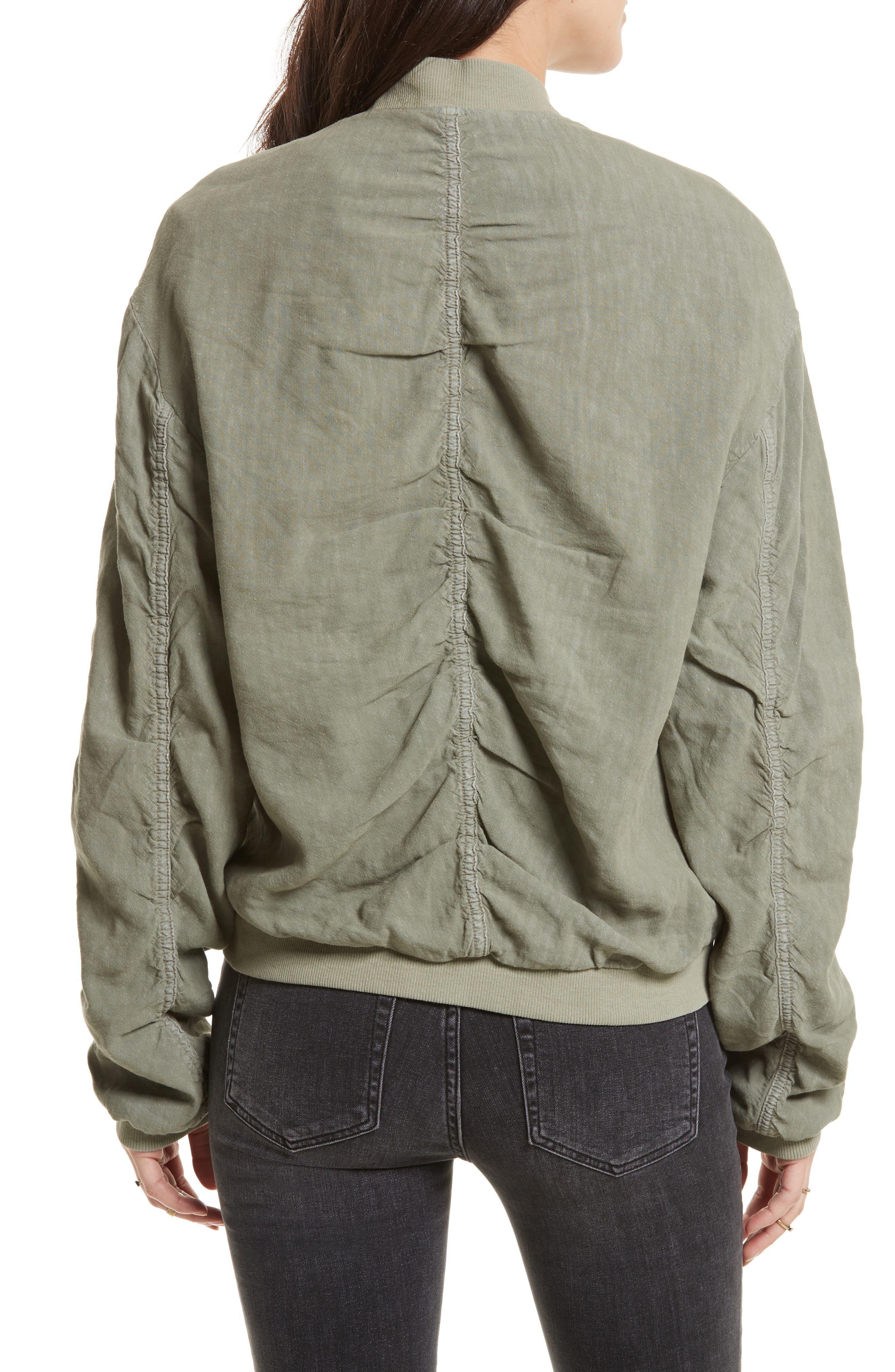 Ruched Linen Bomber Jacket,                             Alternate thumbnail 2, color,                             300