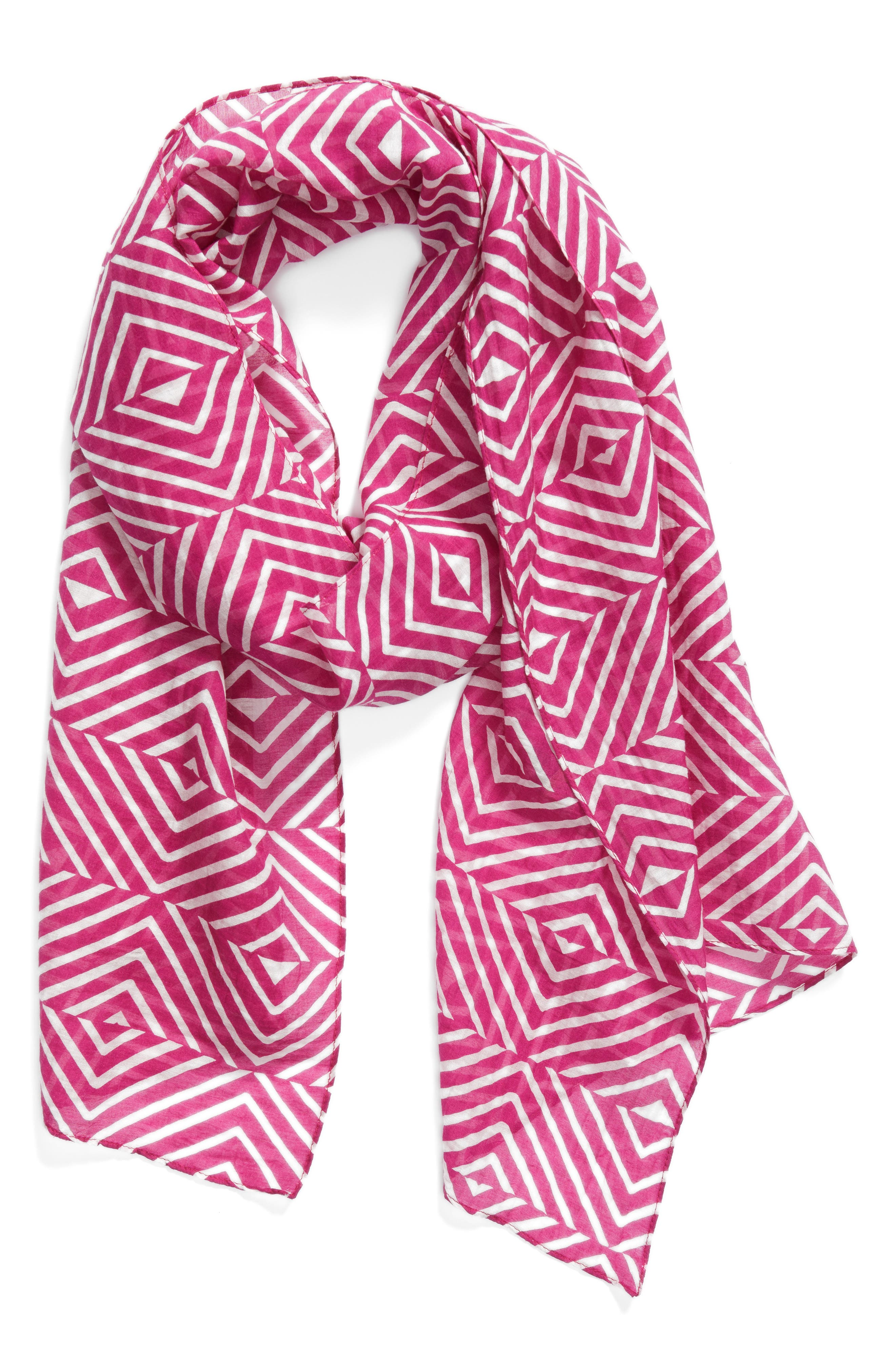 Geo Print Organic Cotton Blend Scarf,                             Alternate thumbnail 6, color,