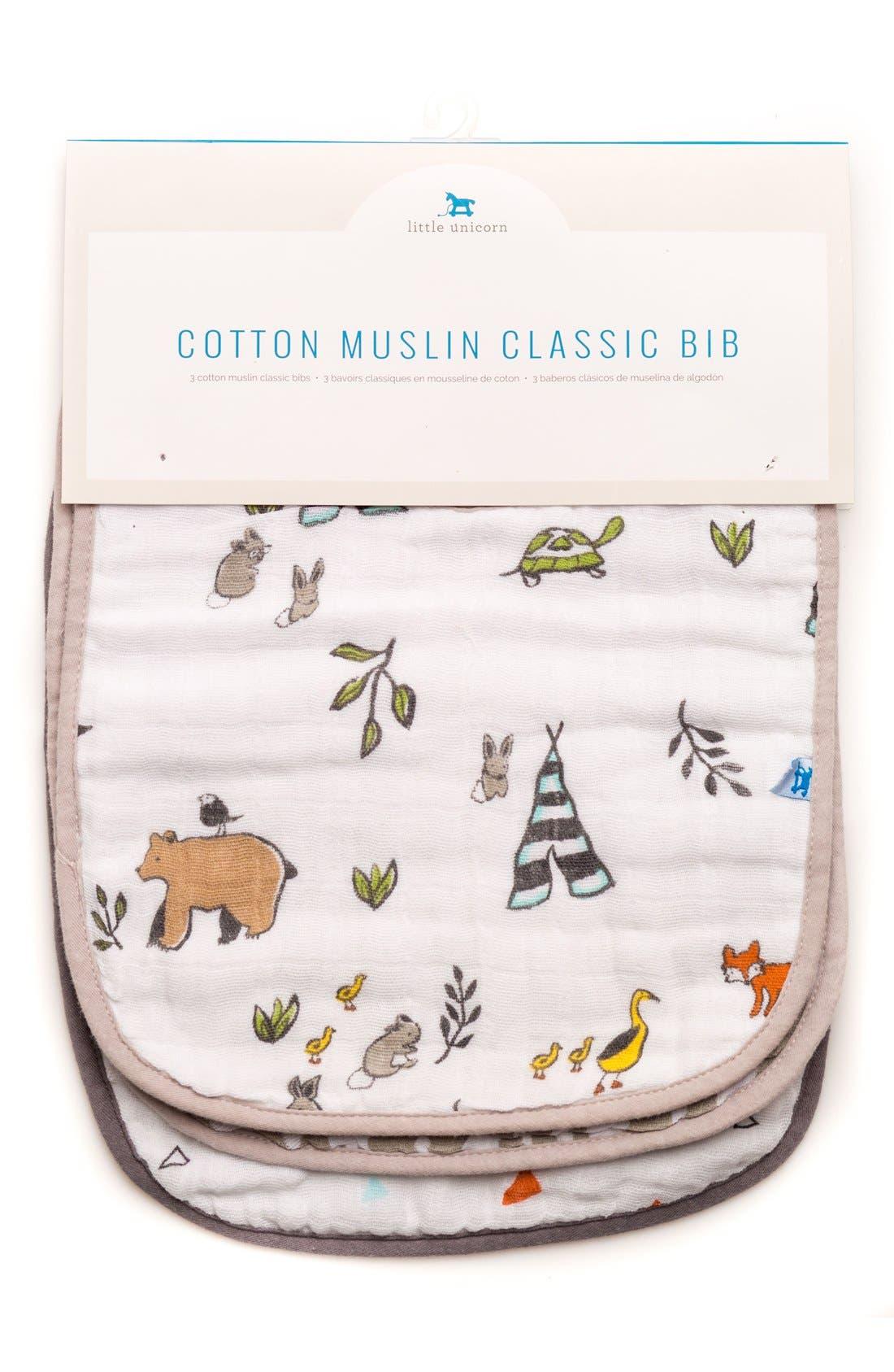 3-Pack Classic Cotton Muslin Bibs,                             Alternate thumbnail 2, color,                             FOREST FRIENDS