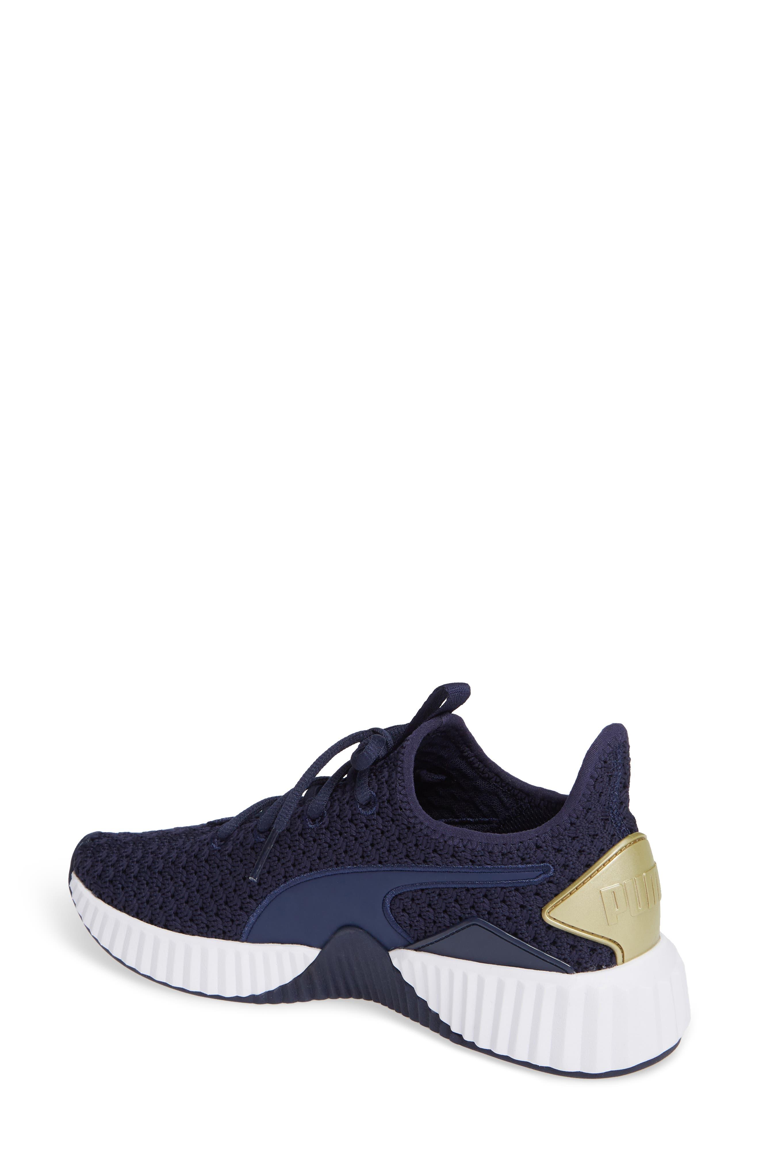 Defy Varsity Sneaker,                             Alternate thumbnail 2, color,                             BLUE/ METALLIC GOLD