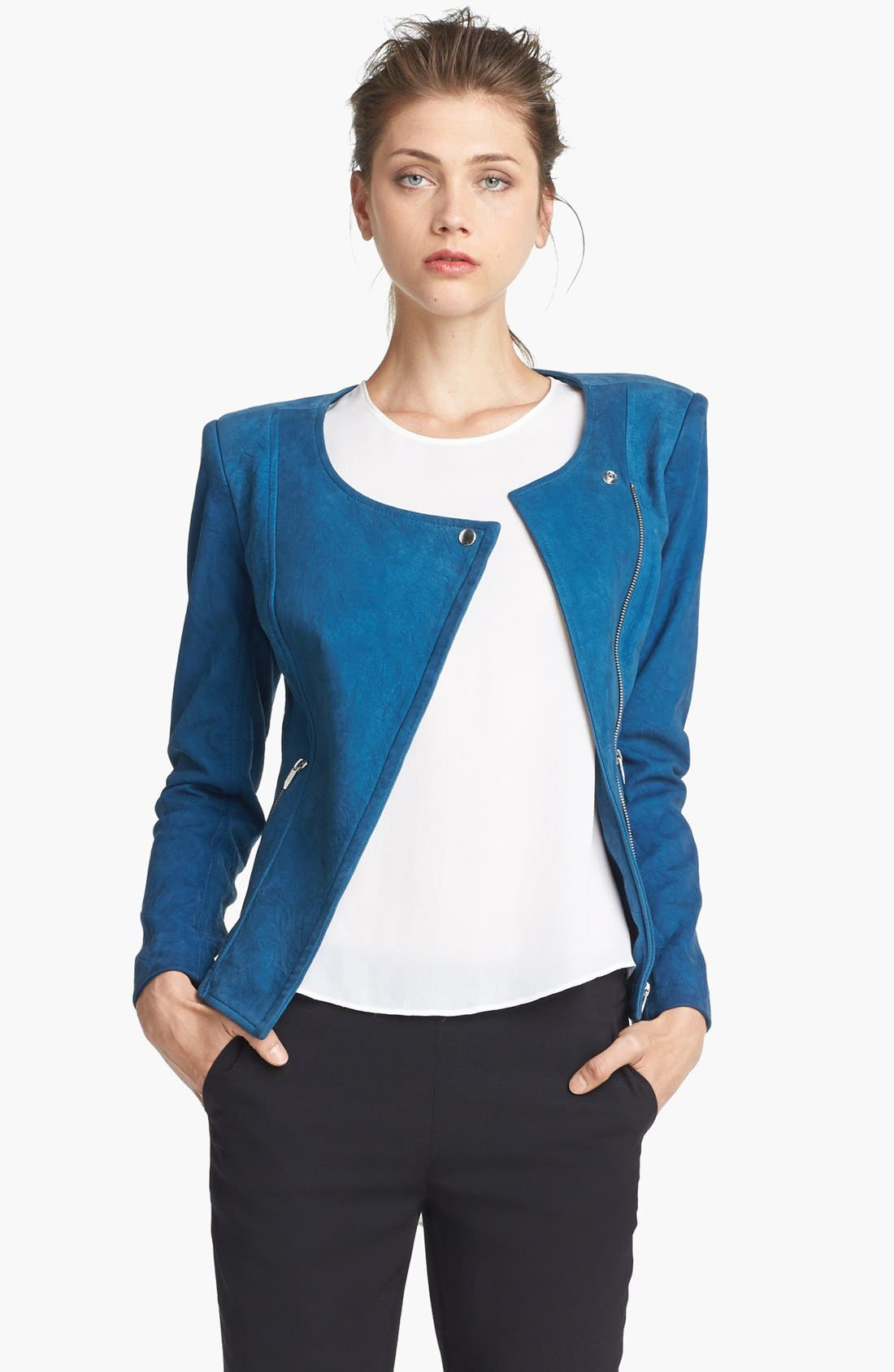 THEYSKENS' THEORY,                             'Jarde Nasher' Leather Jacket,                             Main thumbnail 1, color,                             406