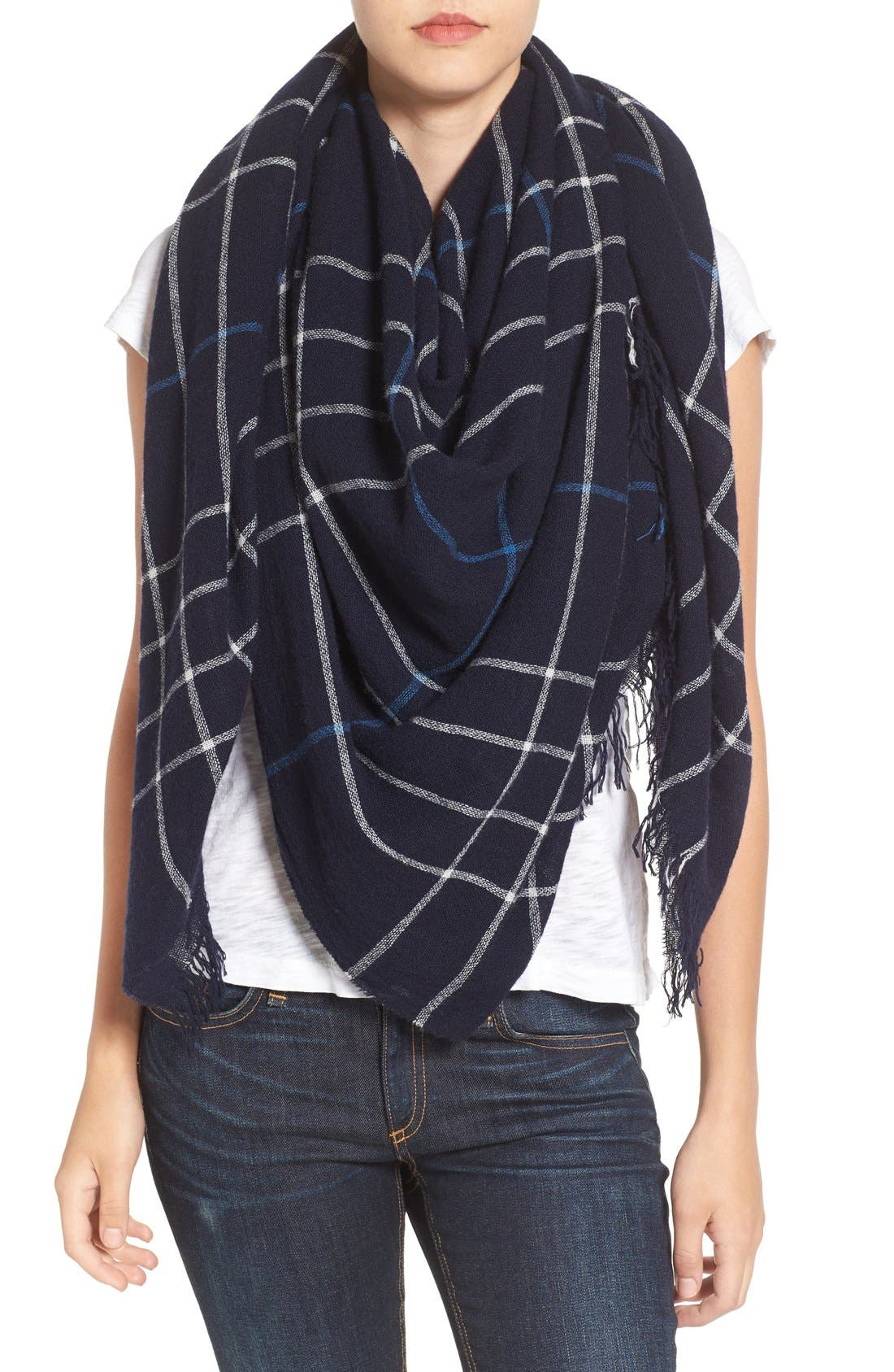 Windowpane Check Wool Scarf,                             Main thumbnail 1, color,                             400