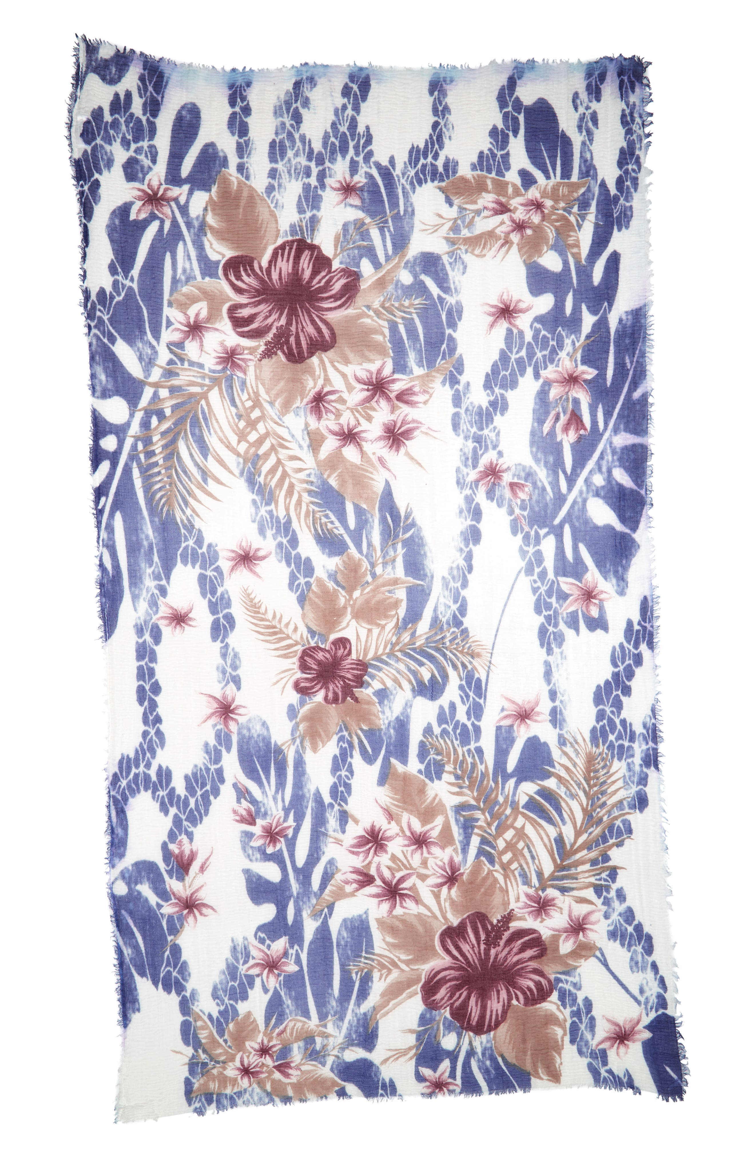 Bahama Floral Print Scarf,                             Alternate thumbnail 2, color,                             400