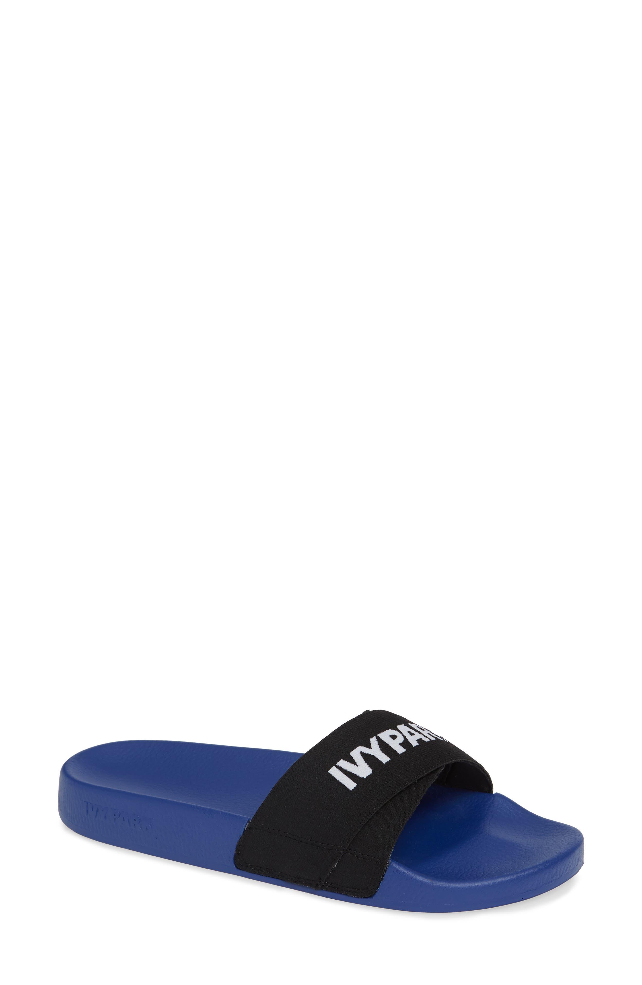 Logo Tape Slide Sandals,                         Main,                         color, 400