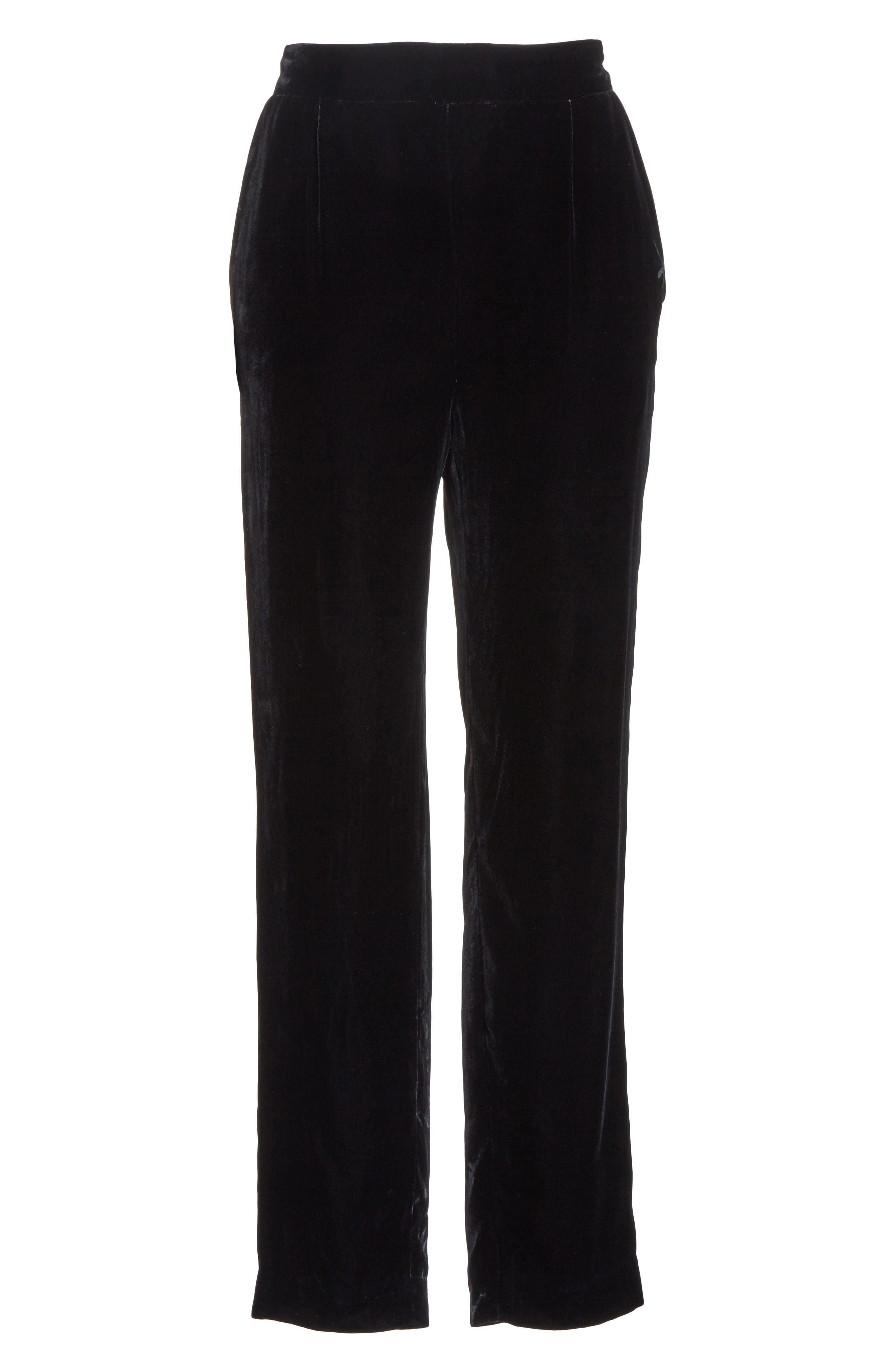 Single Pleat Pull-On Trousers,                             Alternate thumbnail 6, color,                             001
