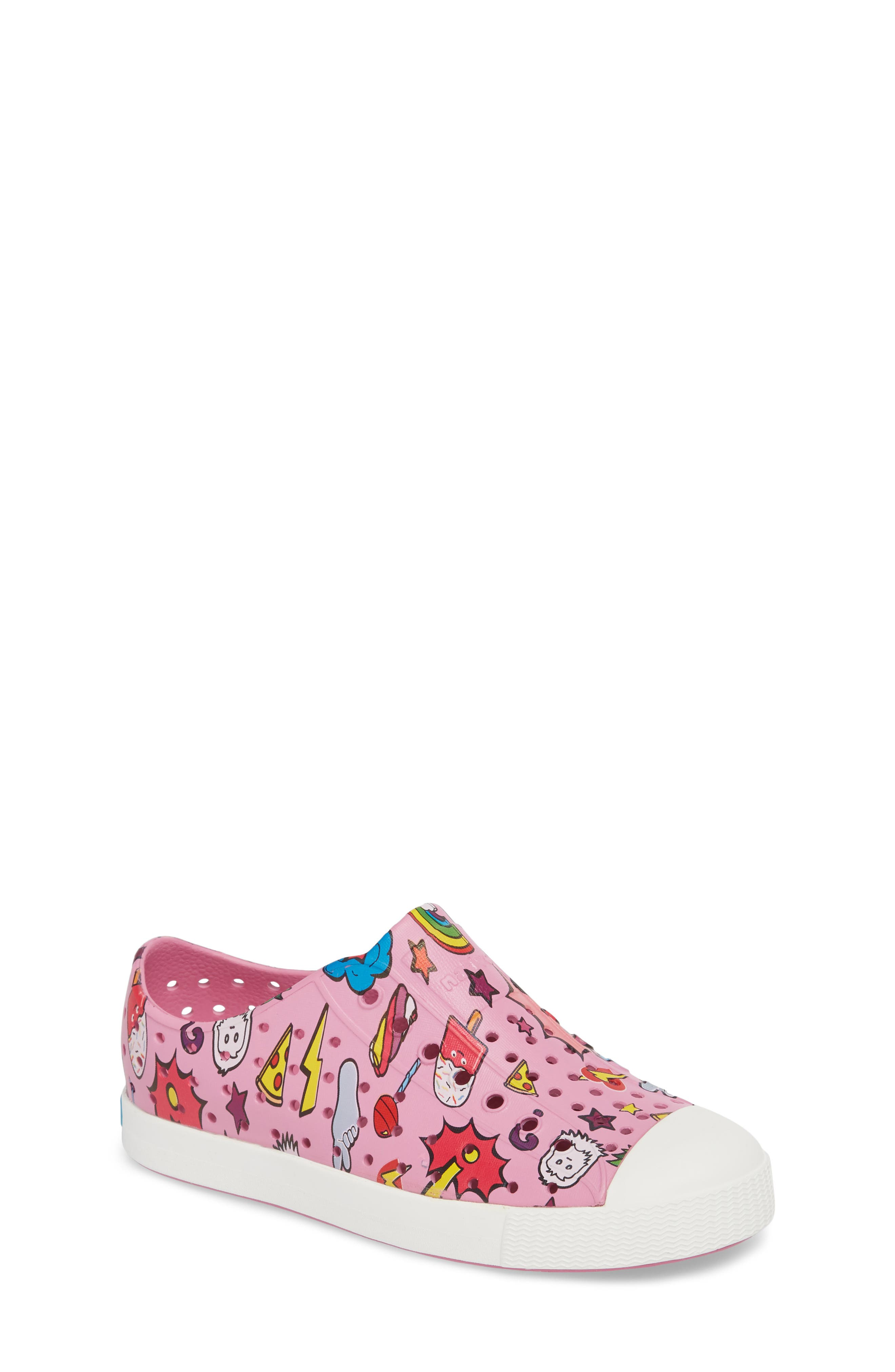 Jefferson Water Friendly Perforated Slip-On,                         Main,                         color, MALIBU PINK/ WHITE/ STICKER