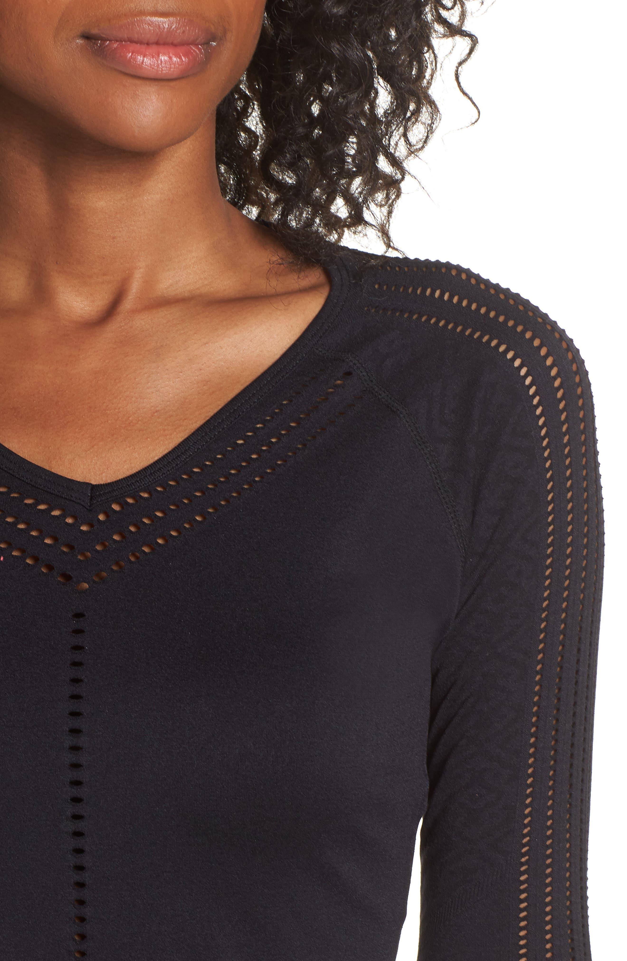 Yasmine Perforated Long Sleeve Tee,                             Alternate thumbnail 4, color,                             BLACK