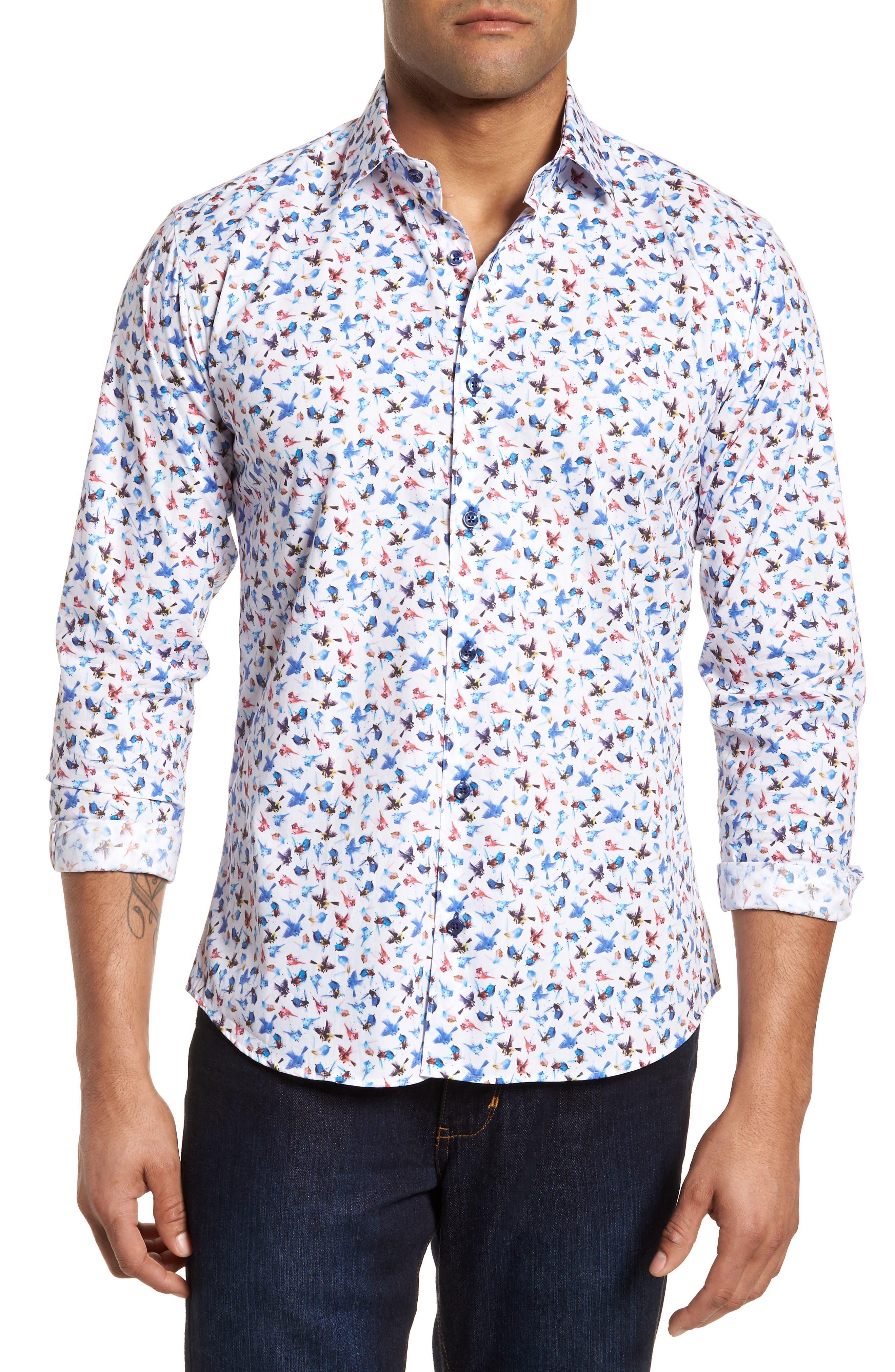 Slim Fit Bird Print Sport Shirt,                         Main,                         color, 963