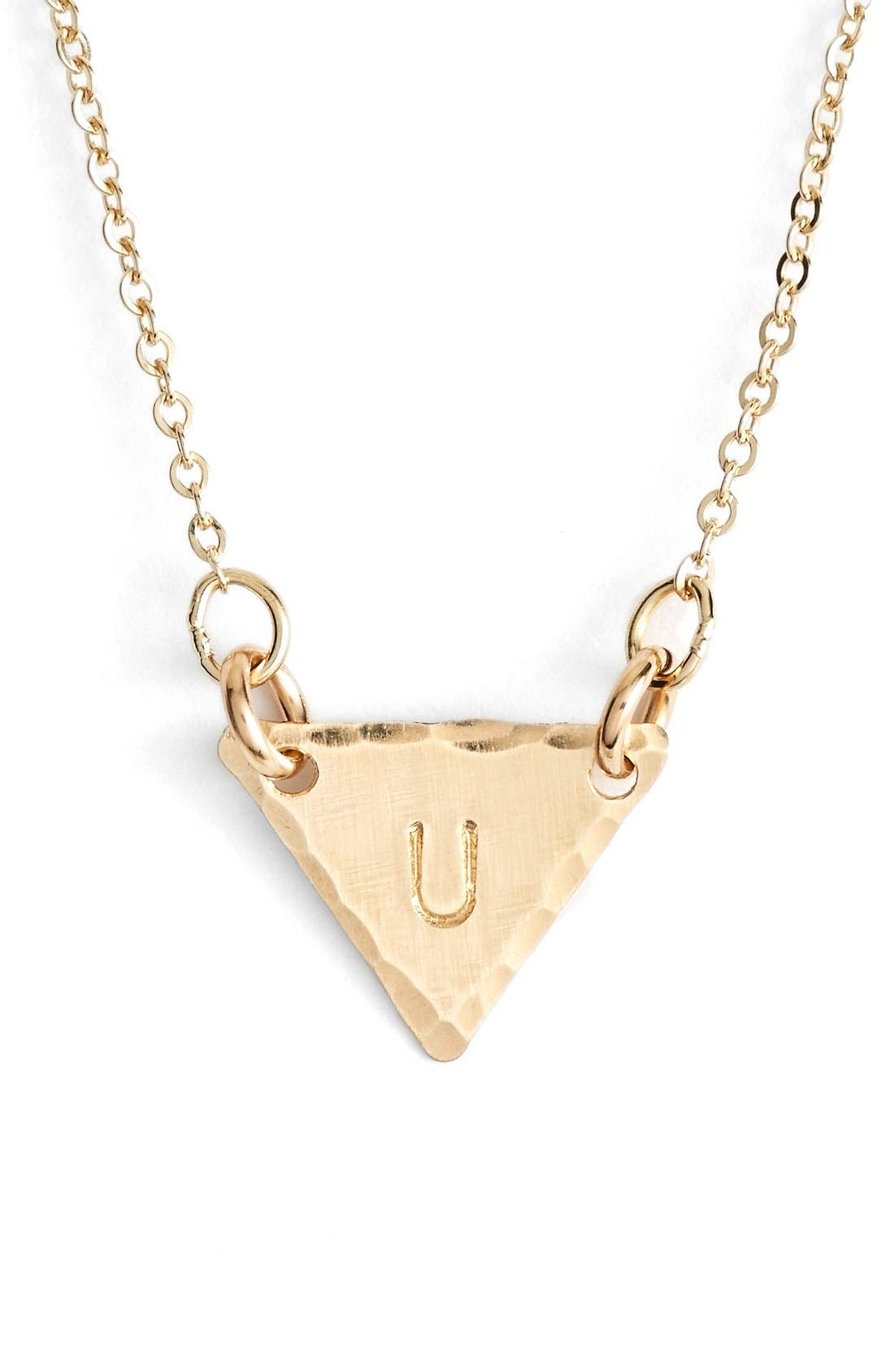 14k-Gold Fill Initial Triangle Necklace,                             Main thumbnail 21, color,
