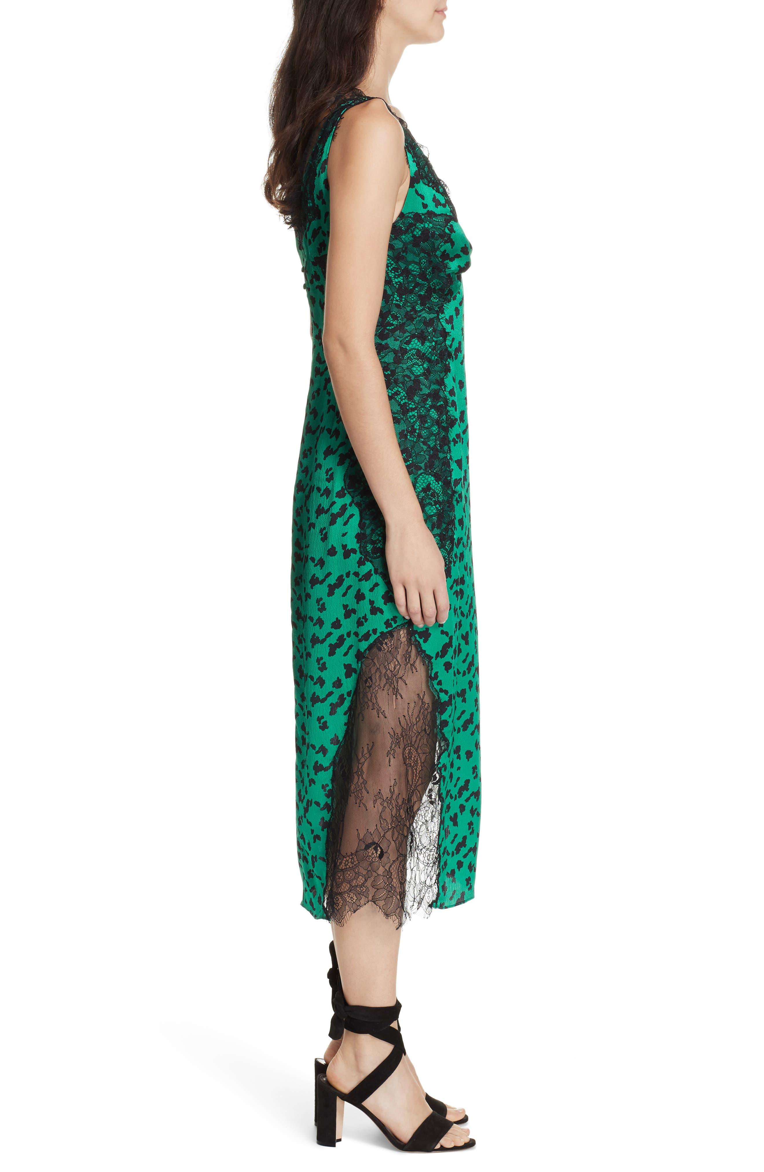 Irina Spot Silhouette Lace & Silk Dress,                             Alternate thumbnail 3, color,                             GREEN