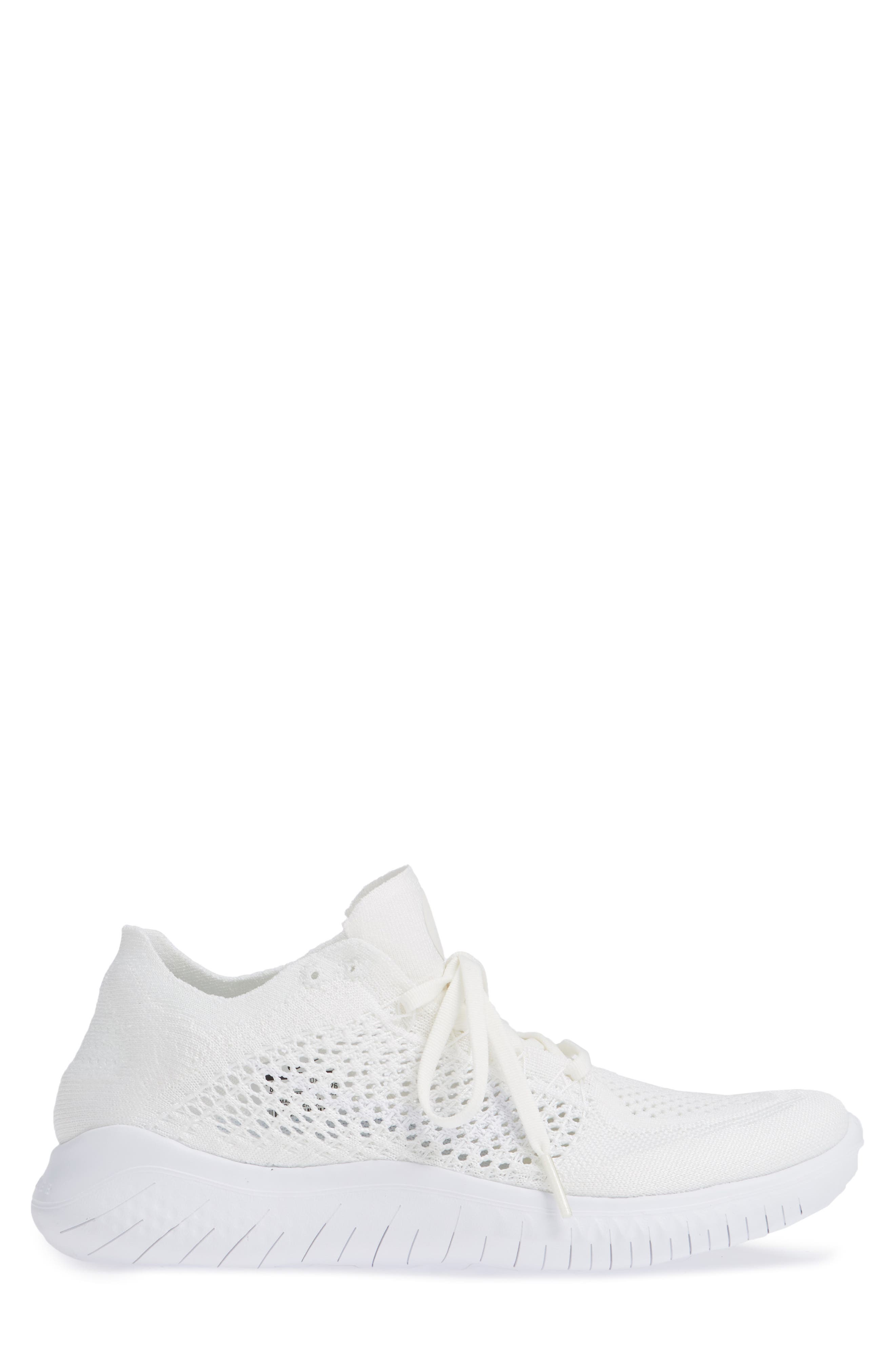 NIKE,                             Free RN Flyknit 2018 Running Shoe,                             Alternate thumbnail 3, color,                             WHITE/ WHITE