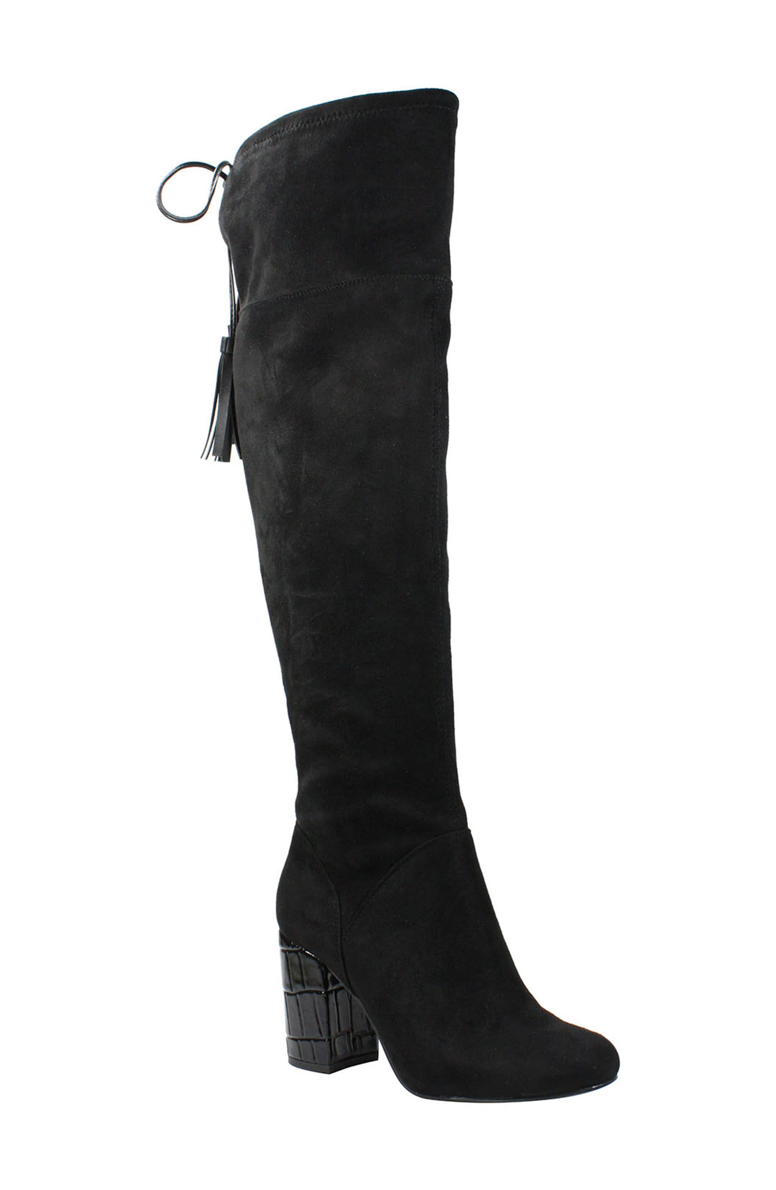 Calcari Over the Knee Boot,                             Main thumbnail 1, color,                             BLACK SUEDE
