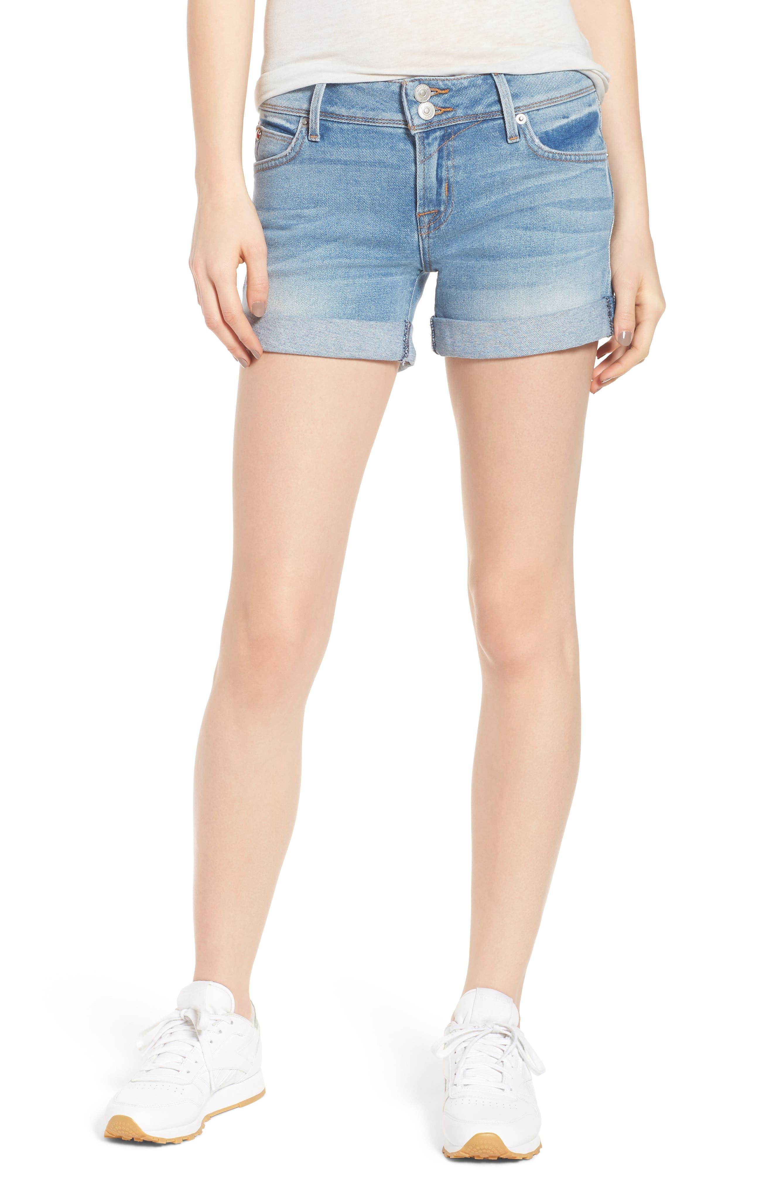 Croxley Cuff Denim Shorts,                         Main,                         color, ROLLING HILLS