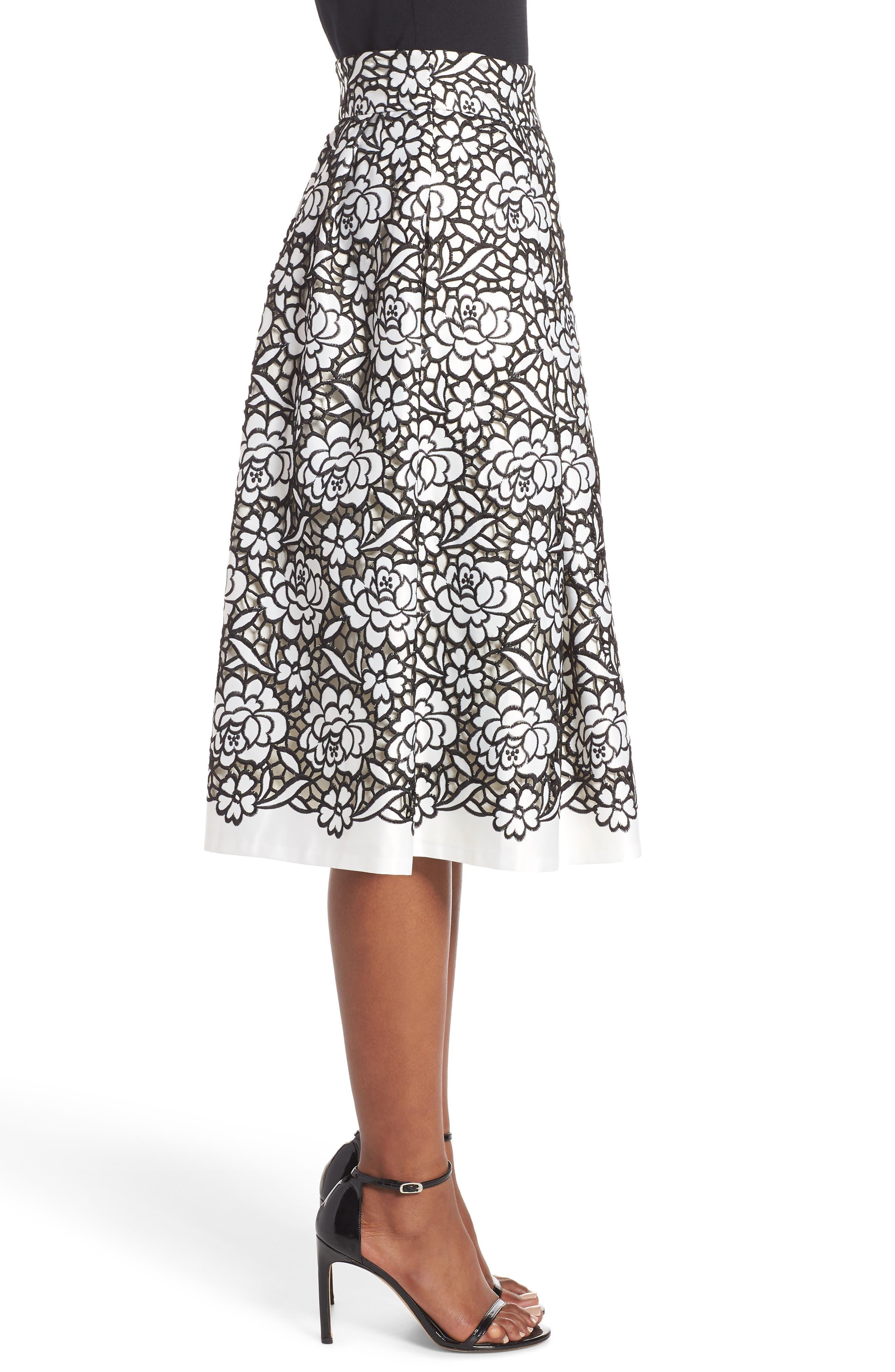 Pleated Floral Cutout Appliqué Skirt,                             Alternate thumbnail 3, color,                             BLACK/IVORY