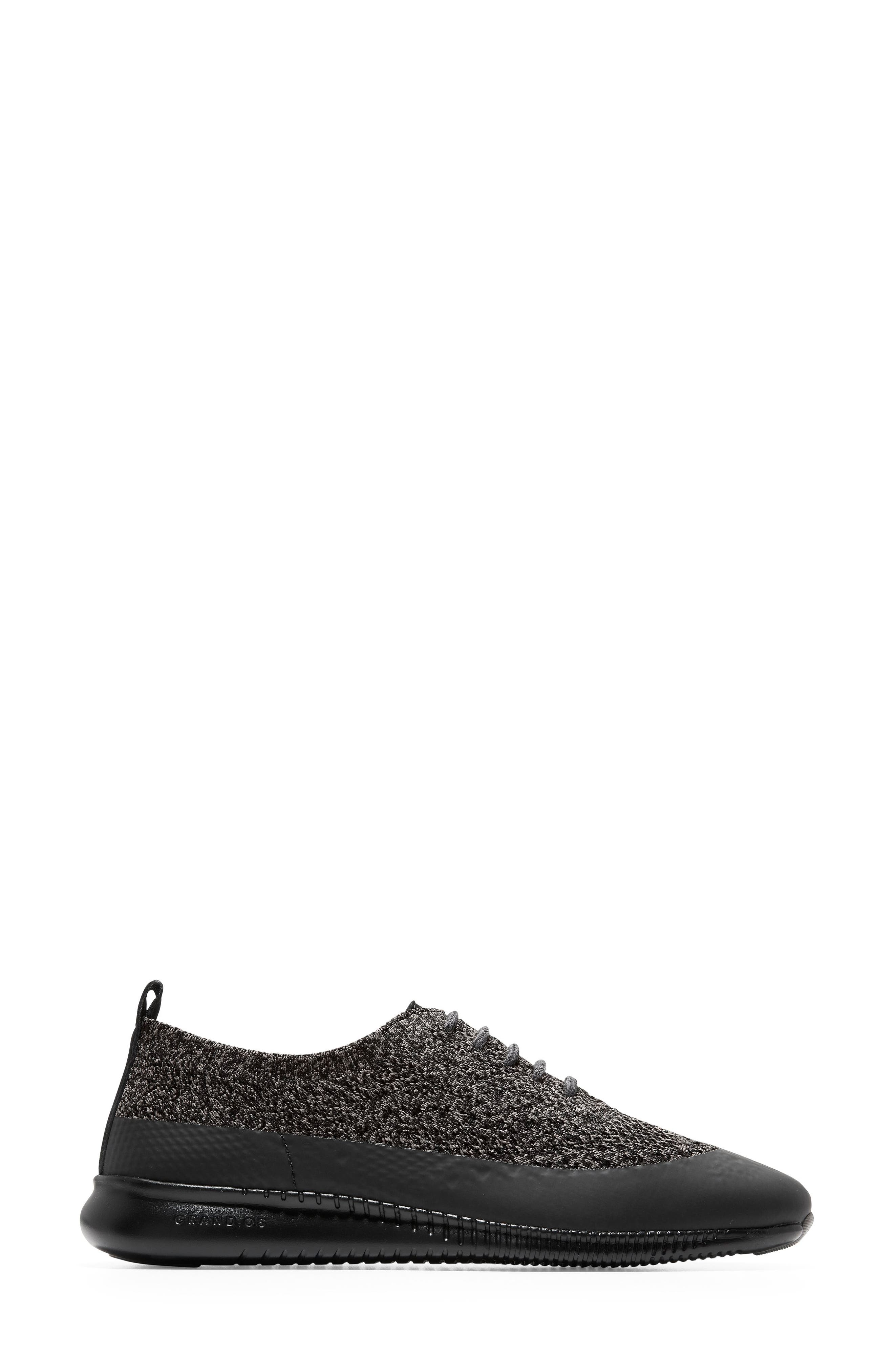 2 Zerogrand Stitchlite Oxford Sneaker,                             Alternate thumbnail 3, color,                             BLACK/ STORM CLOUD KNIT FABRIC
